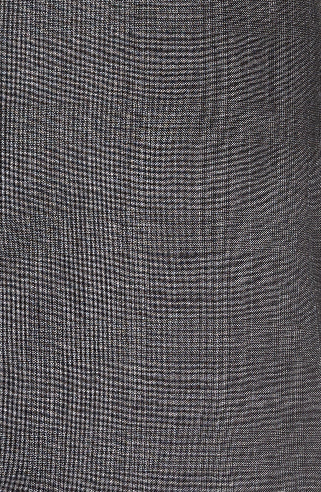 Extra Trim Fit Plaid Wool Suit,                             Alternate thumbnail 7, color,                             Grey