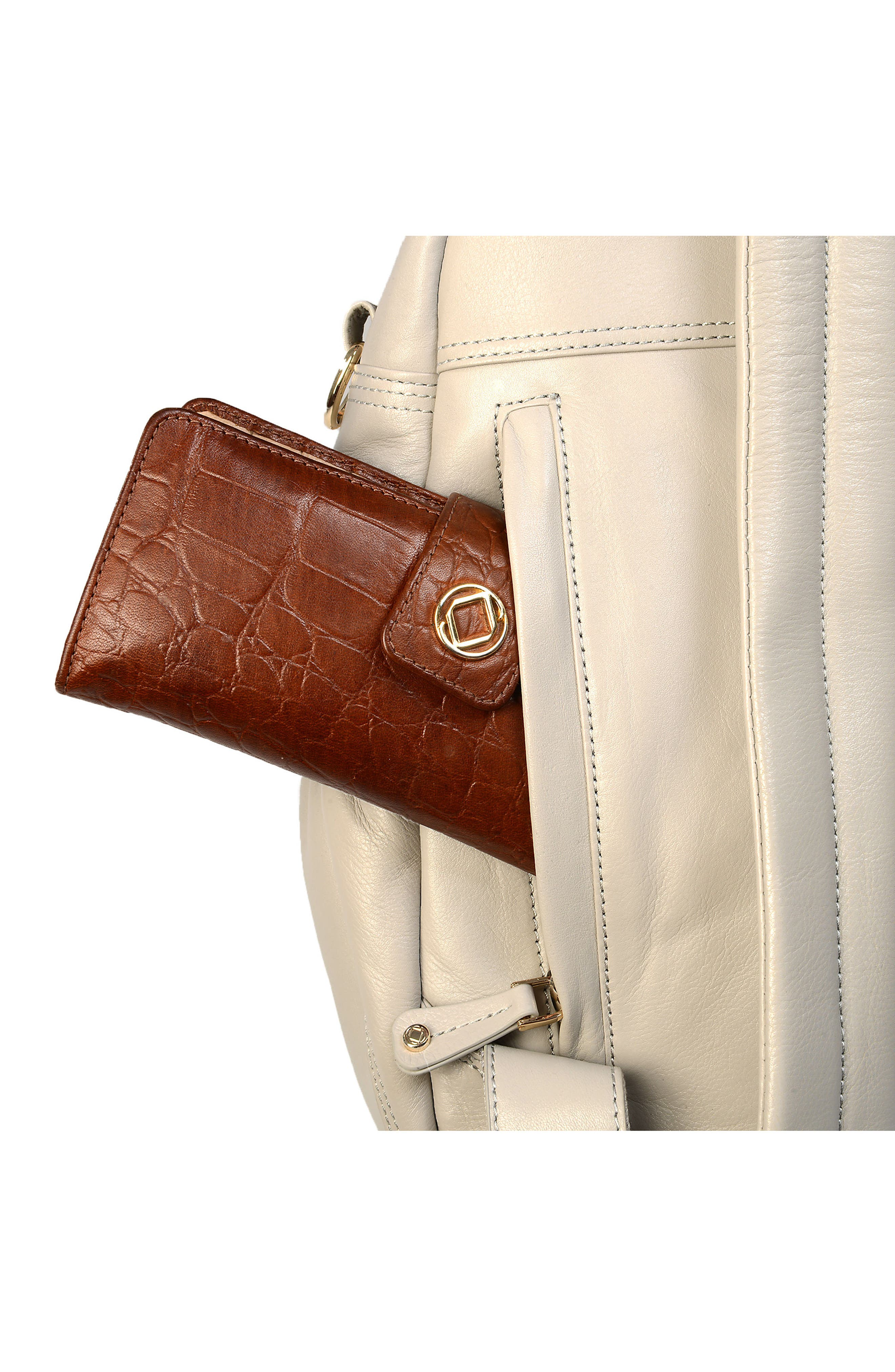 Joy XL Leather Backpack,                             Alternate thumbnail 15, color,                             Ice Grey