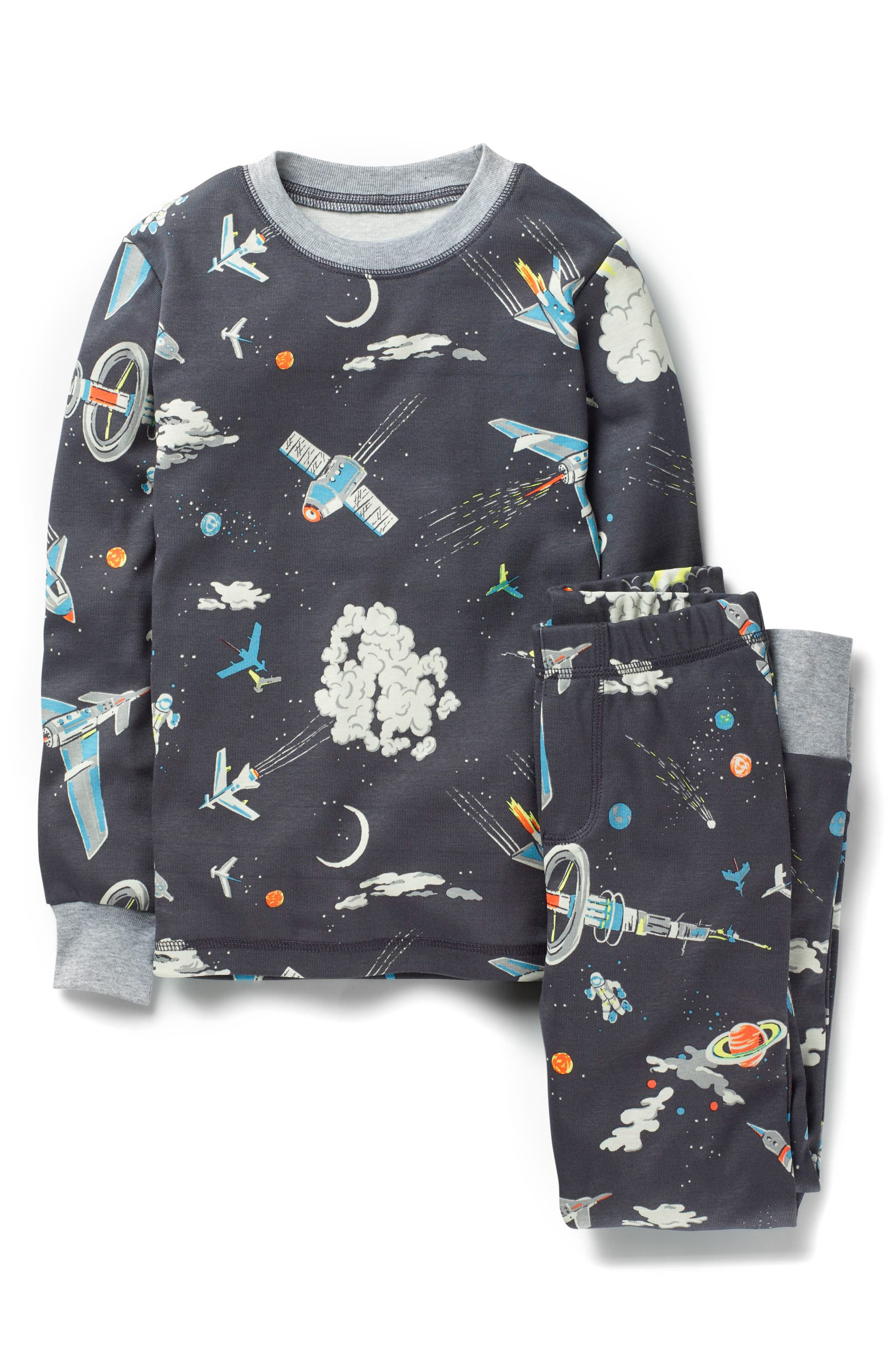 Glow in the Dark Fitted Two-Piece Pajamas,                         Main,                         color, Asphalt Gray
