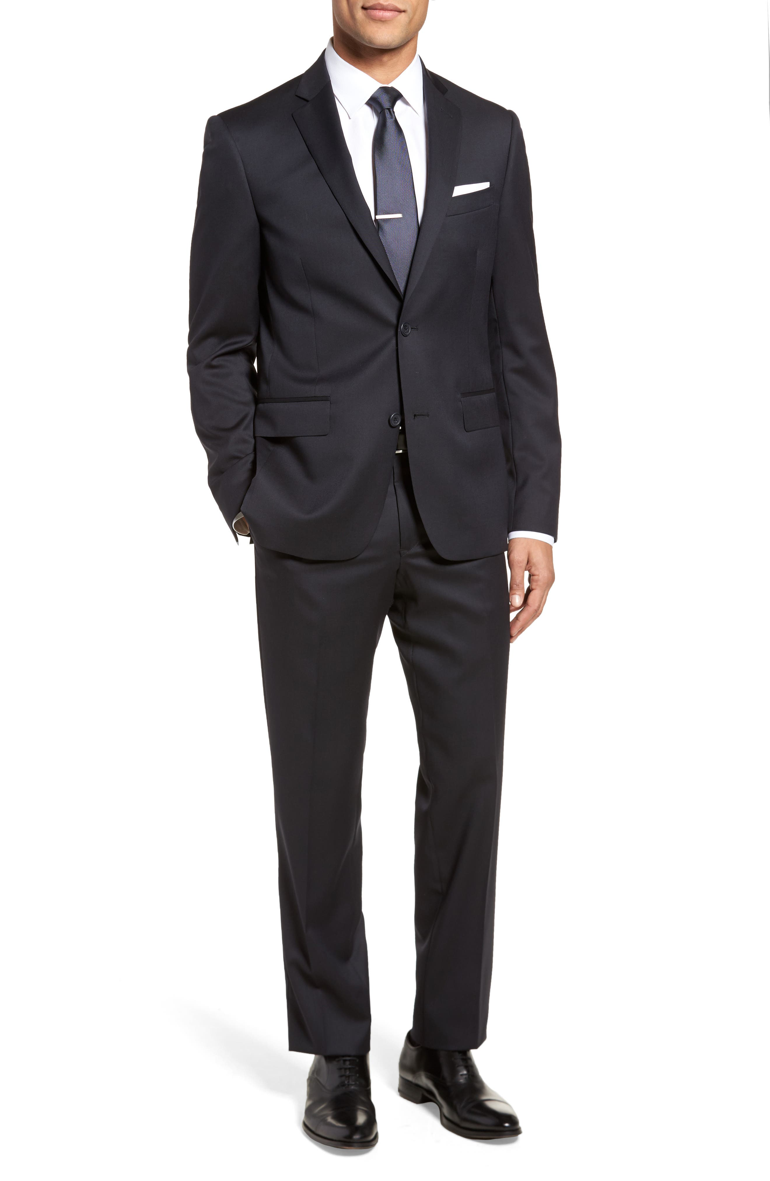 Trim Fit Solid Wool Suit,                         Main,                         color, Navy