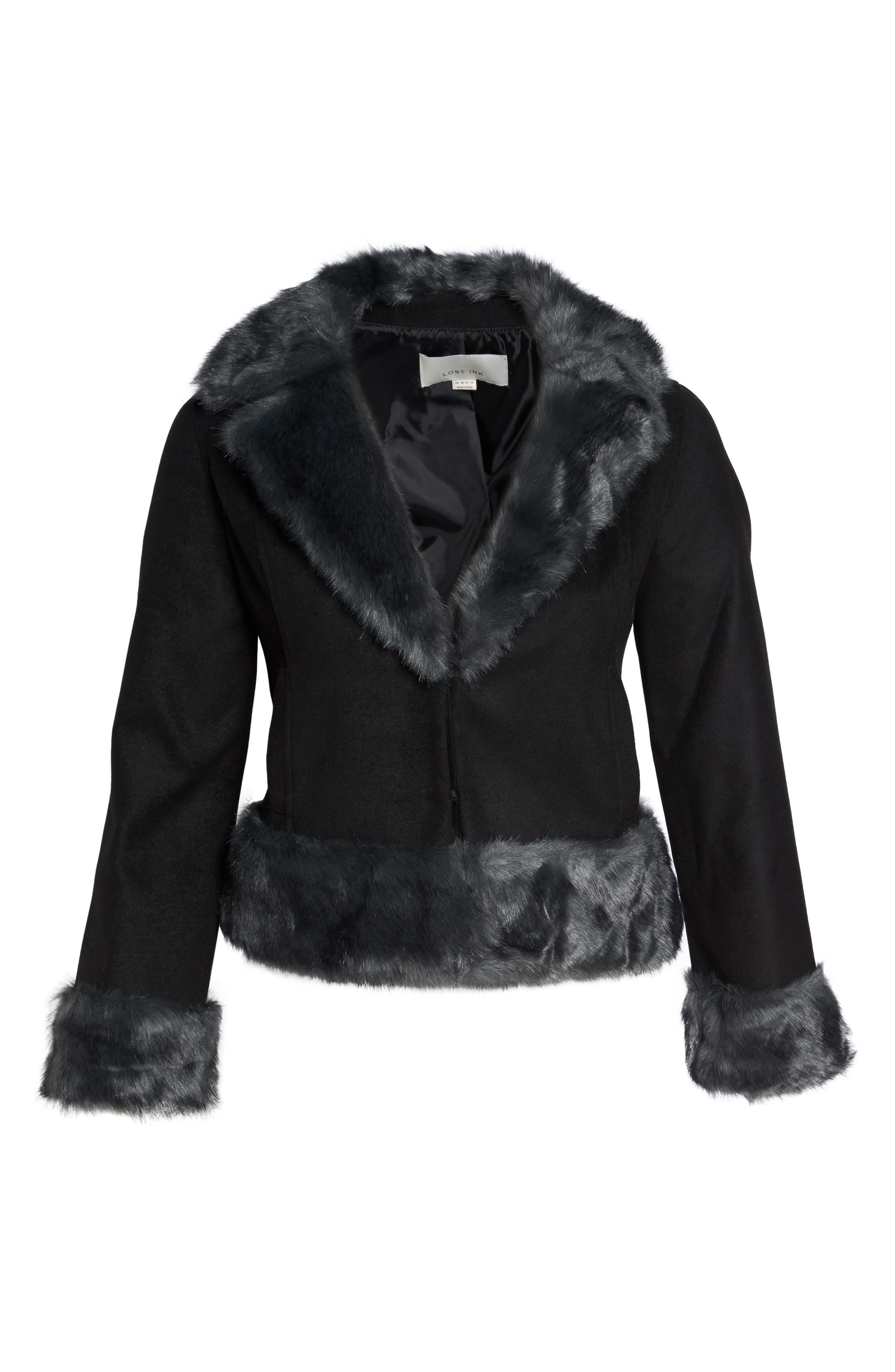 Jacket with Faux Fur Trim,                             Alternate thumbnail 6, color,                             Black