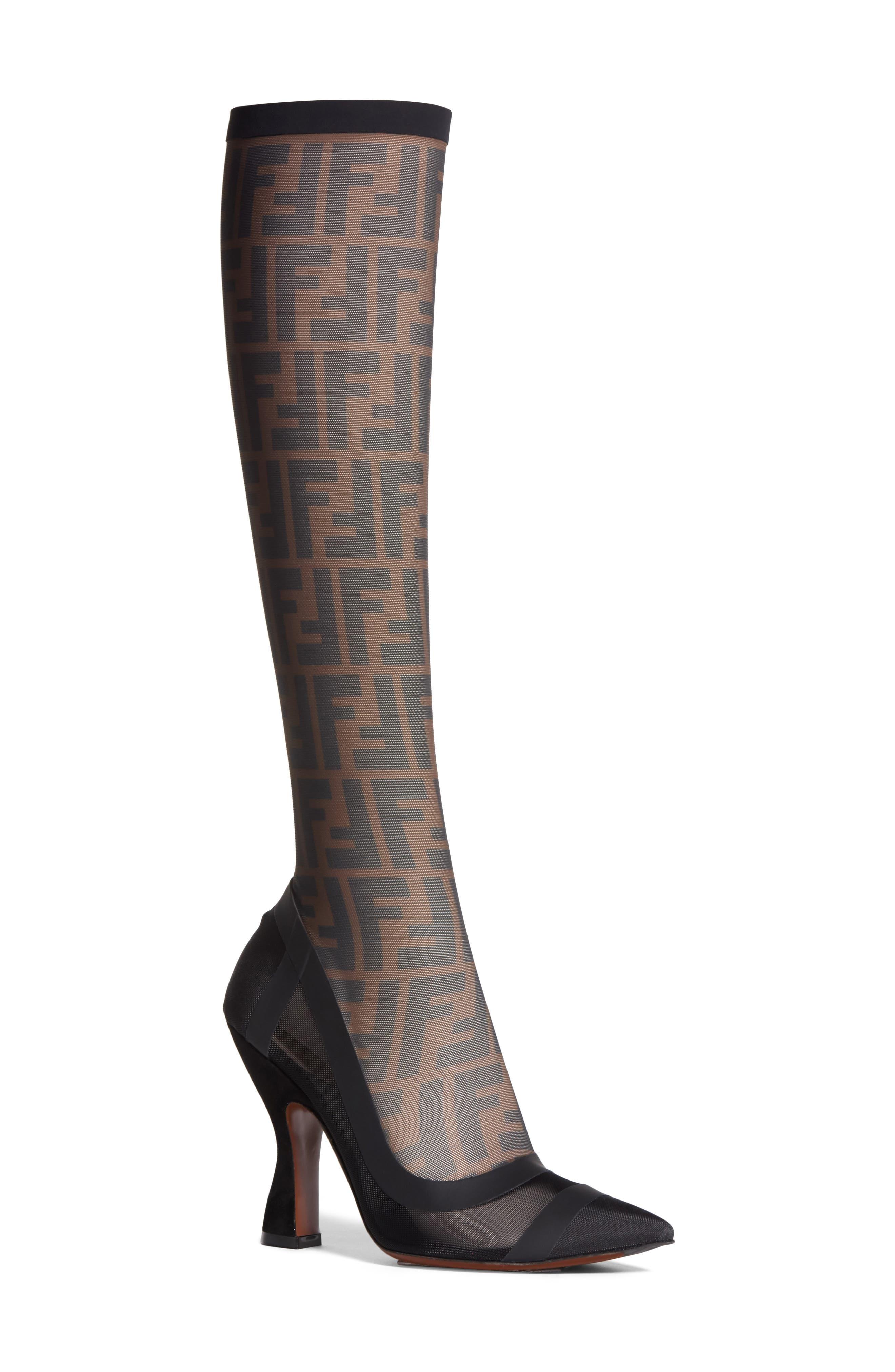 Fendi Logo Sock Pointy Toe Pump (Women)