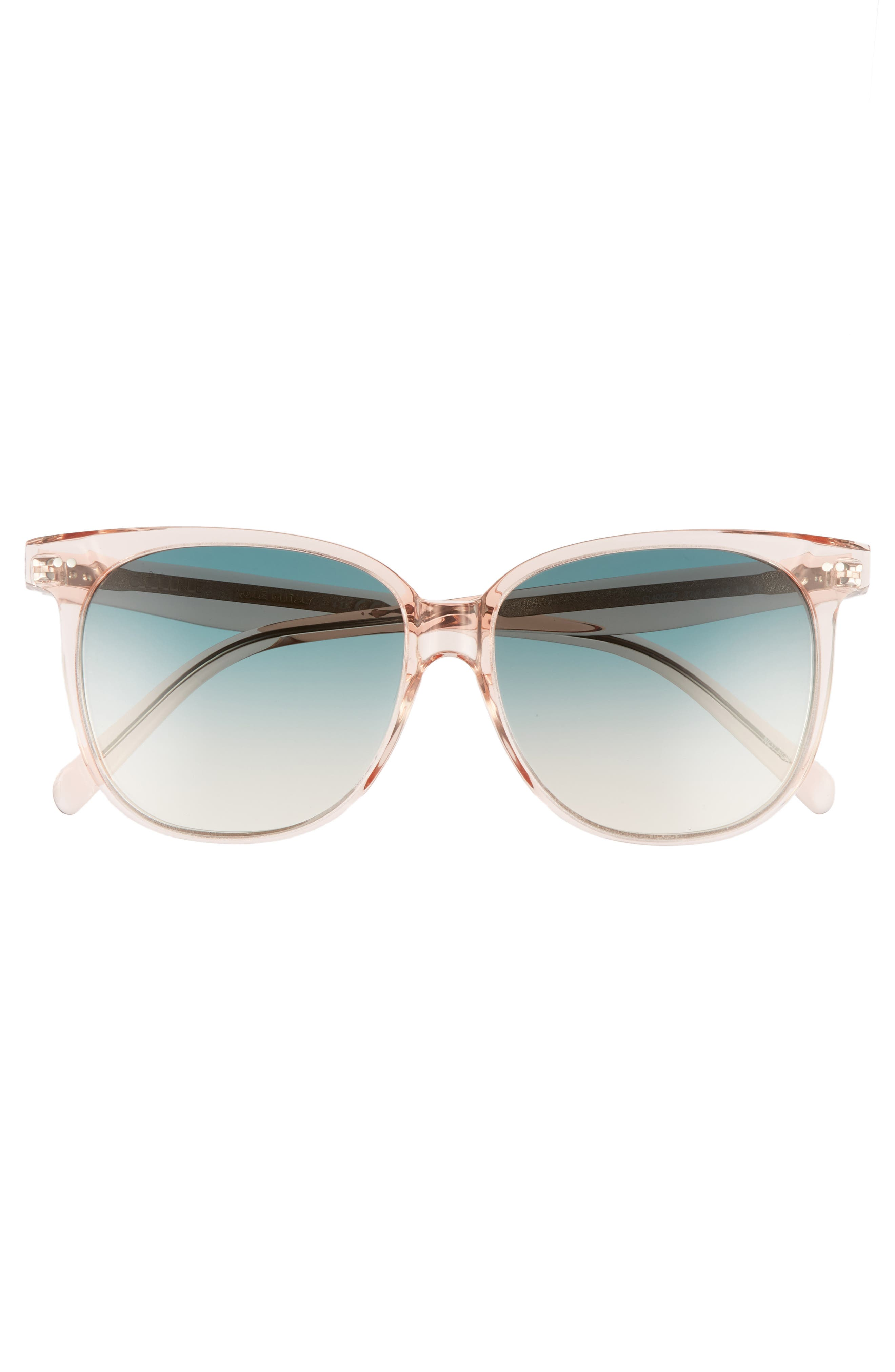 Special Fit 58mm Square Sunglasses,                             Alternate thumbnail 3, color,                             Baby Pink/ Turquoise