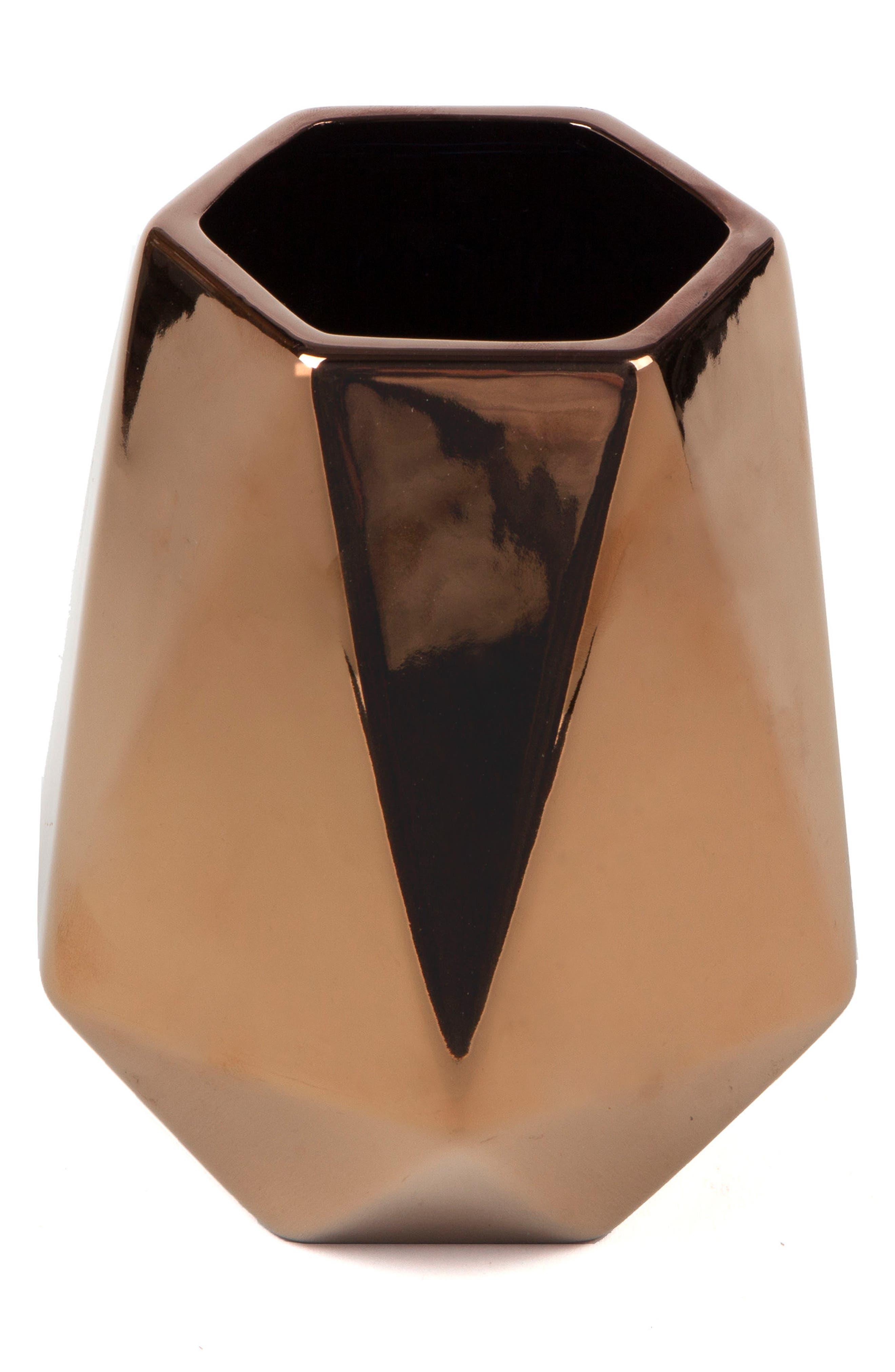 Geo Stoneware Vase,                             Main thumbnail 1, color,                             Copper