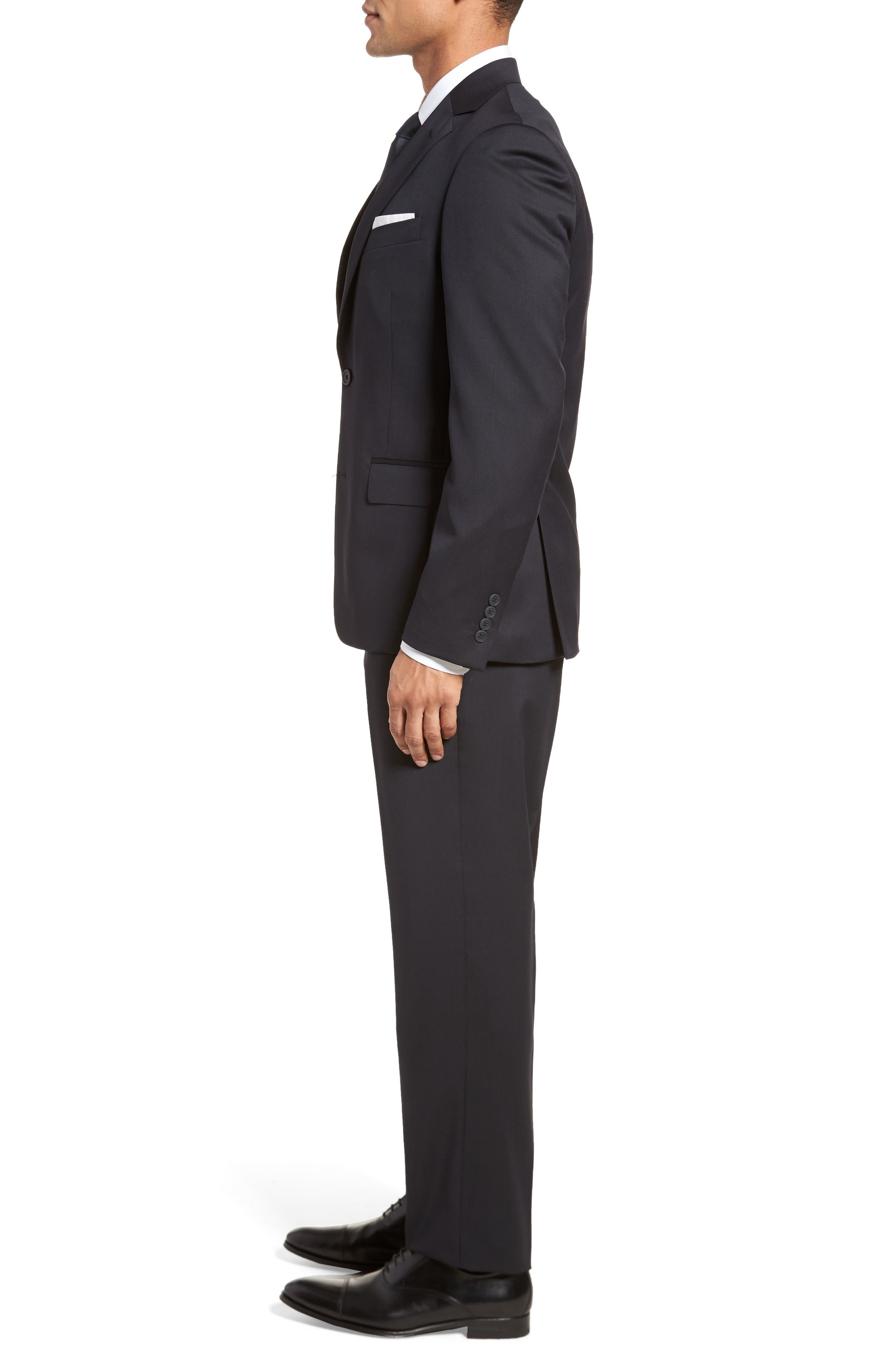 Trim Fit Solid Wool Suit,                             Alternate thumbnail 3, color,                             Navy