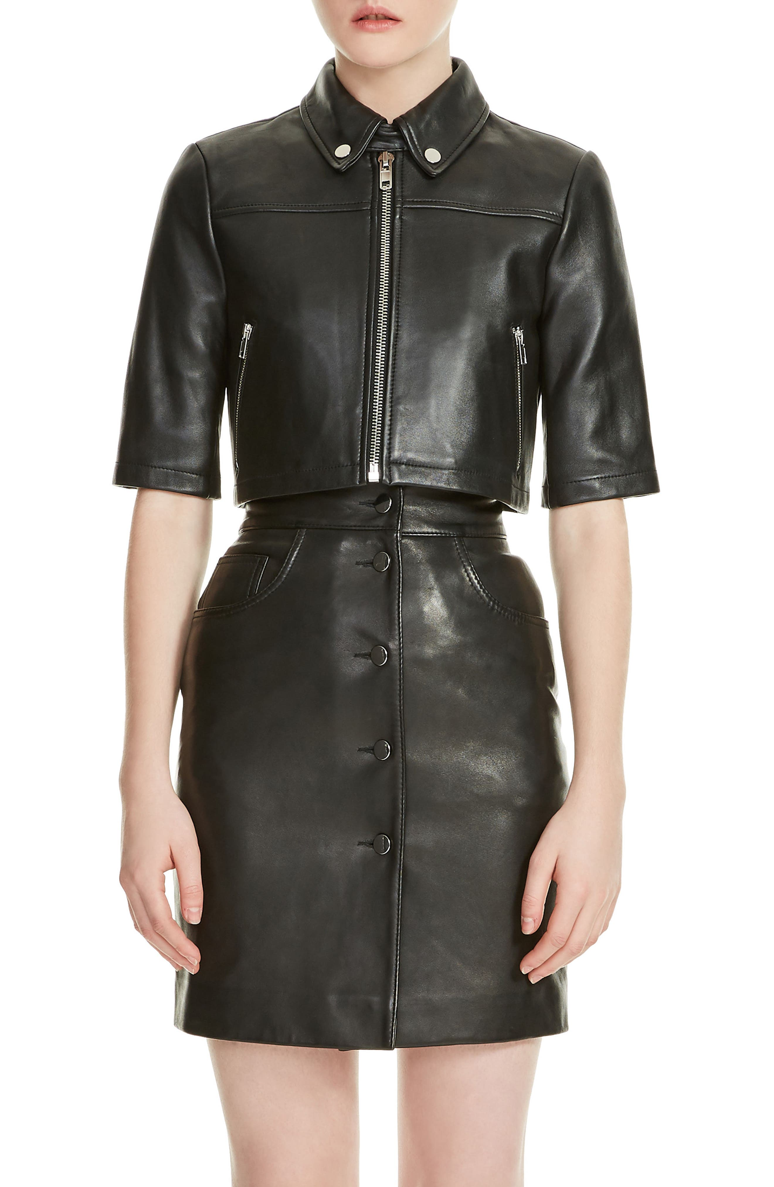 Brittany Crop Leather Jacket,                             Main thumbnail 1, color,                             Black