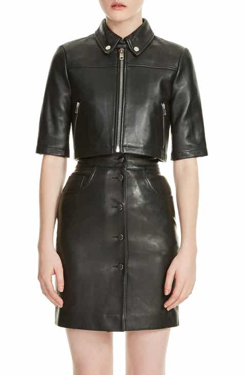 maje Brittany Crop Leather Jacket by MAJE