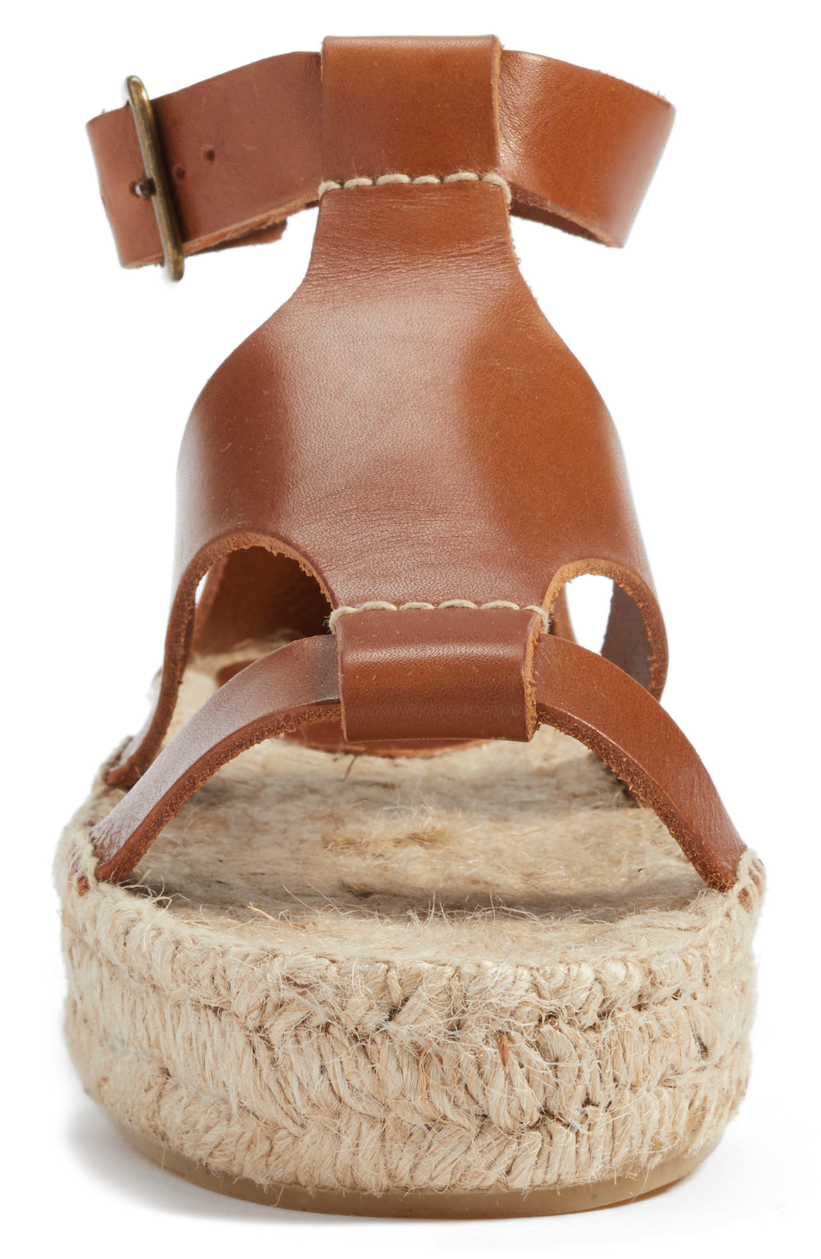 Strappy Espadrille Sandal,                             Alternate thumbnail 4, color,                             Walnut Leather