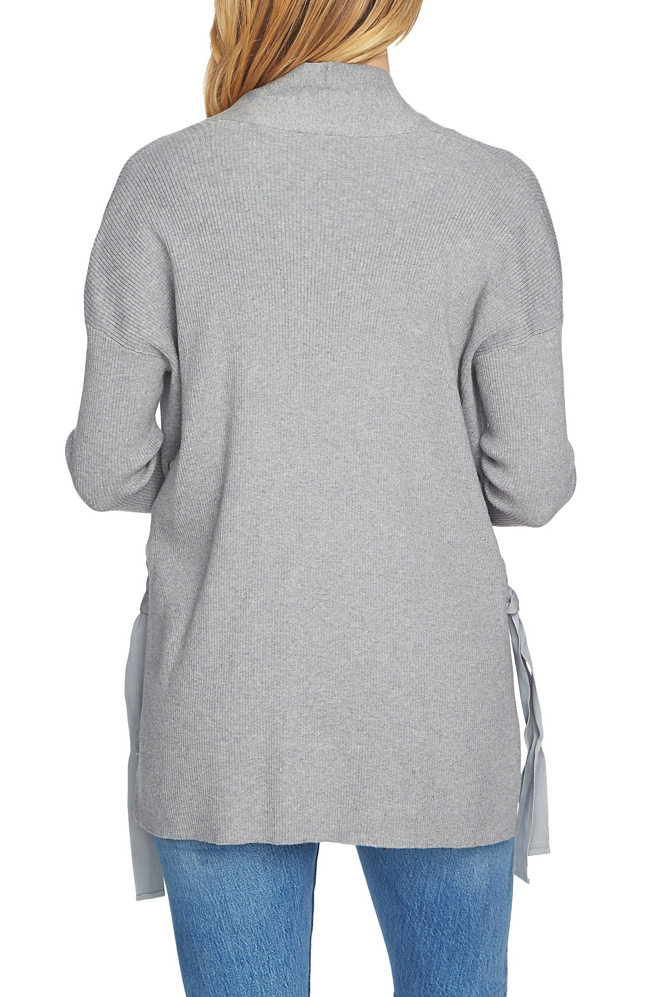 Side Lace-Up Cardigan,                             Alternate thumbnail 2, color,                             Light Heather Grey