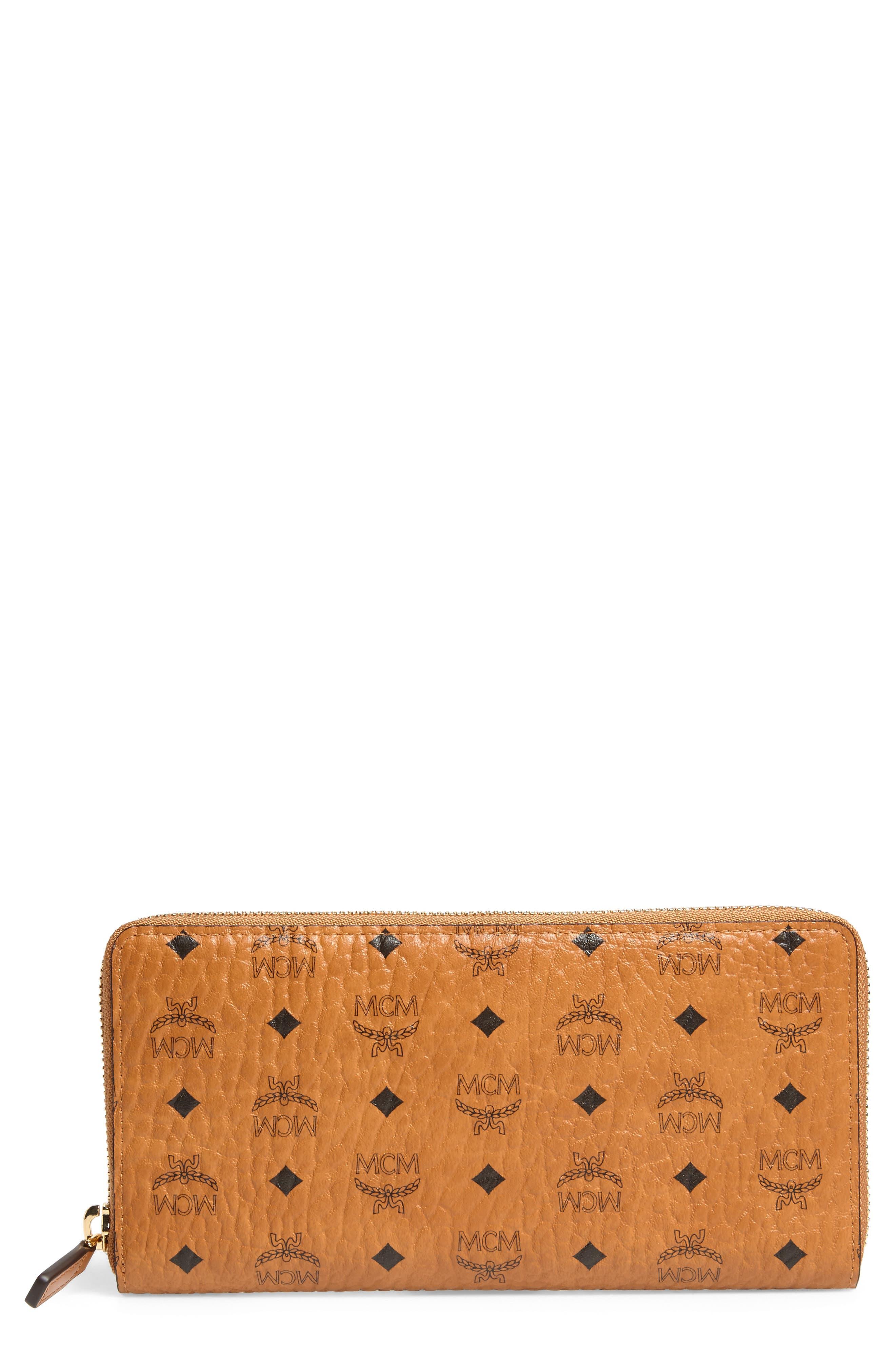 Visetos Original Zip Around Coated Canvas Wallet,                         Main,                         color, Cognac