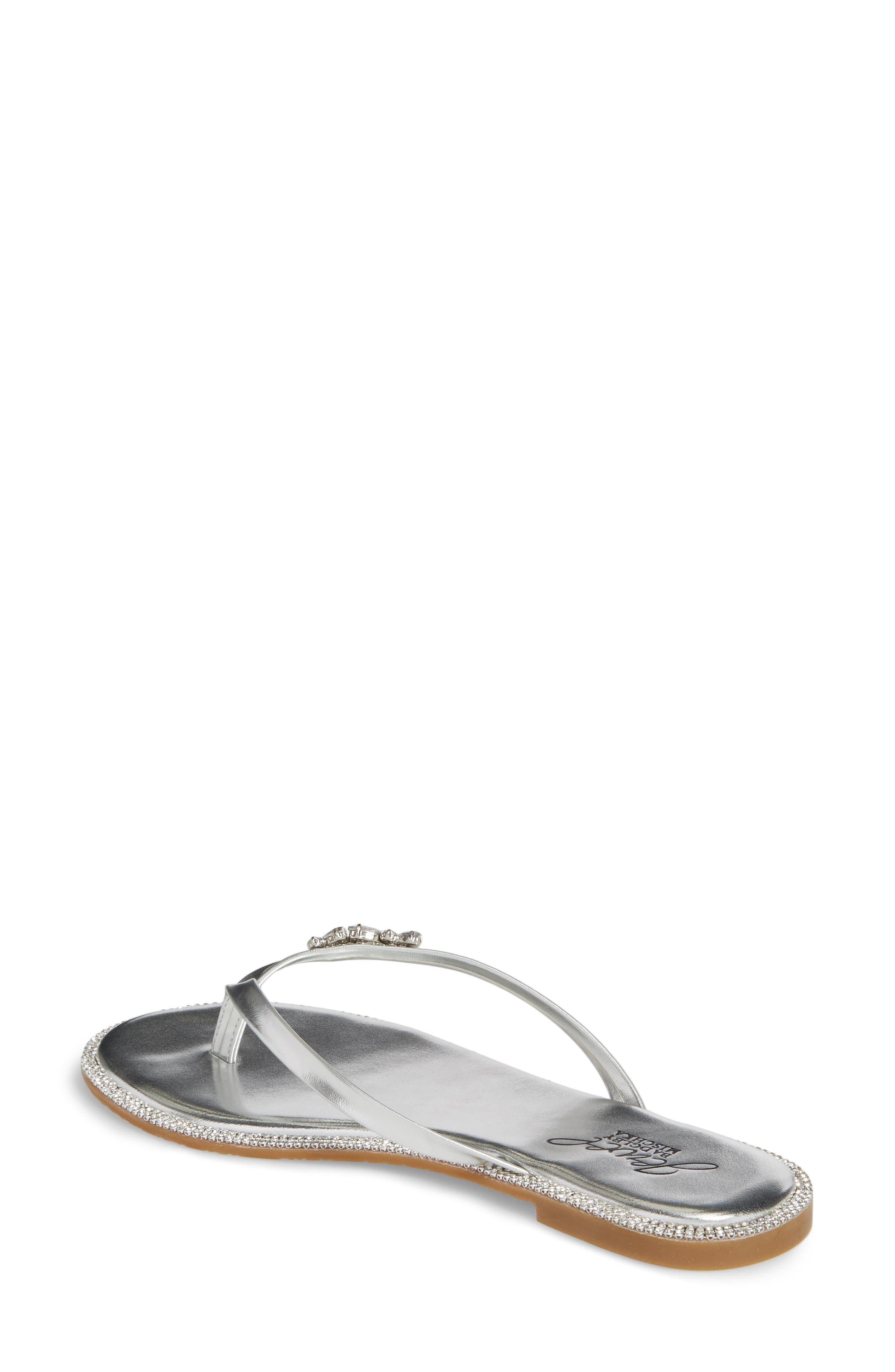 Thalia Crystal Embellished Flip Flop,                             Alternate thumbnail 2, color,                             Silver Leather