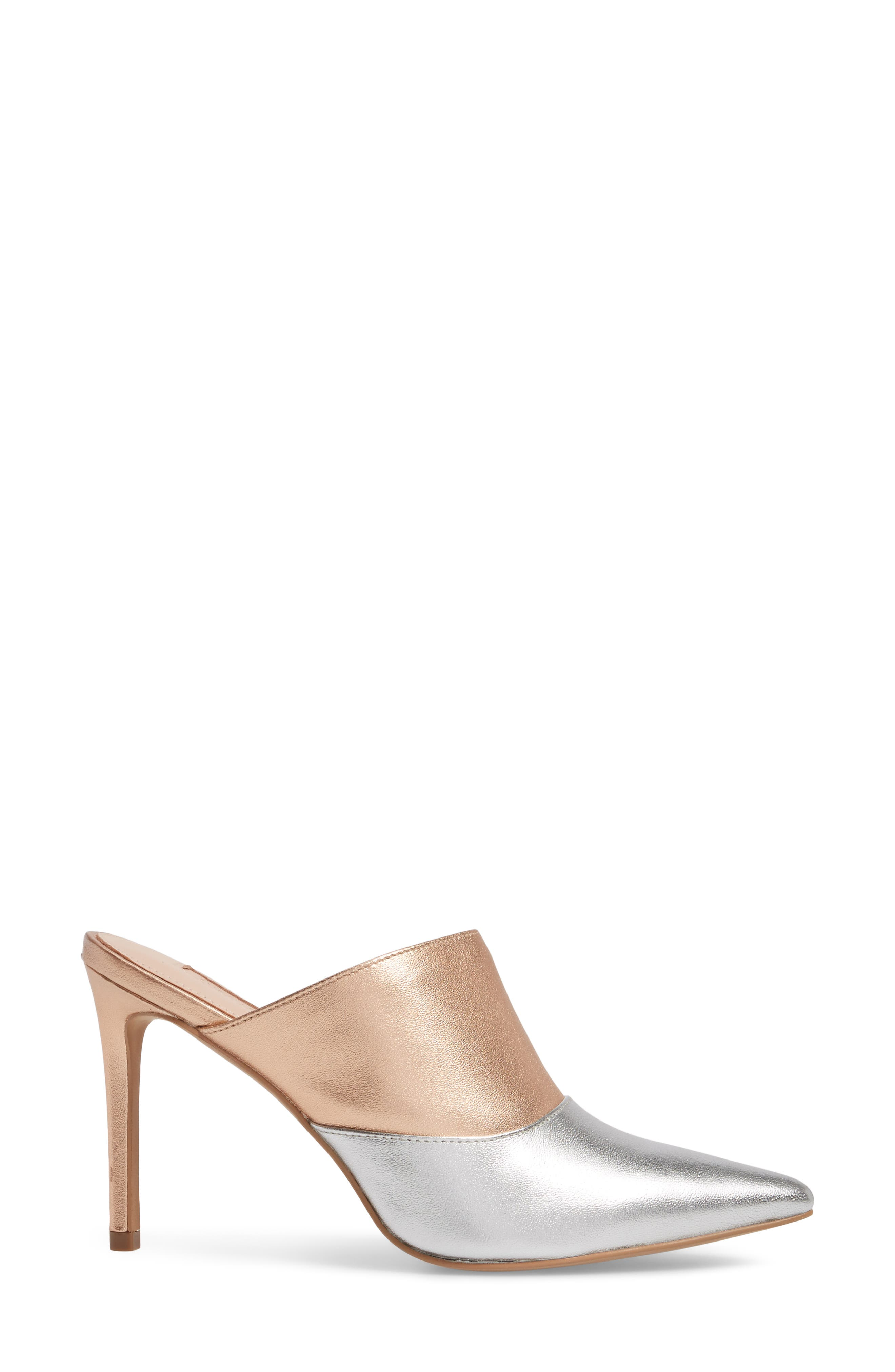 Joelle High Heel Mule,                             Alternate thumbnail 3, color,                             Silver/ Rose Gold Leather