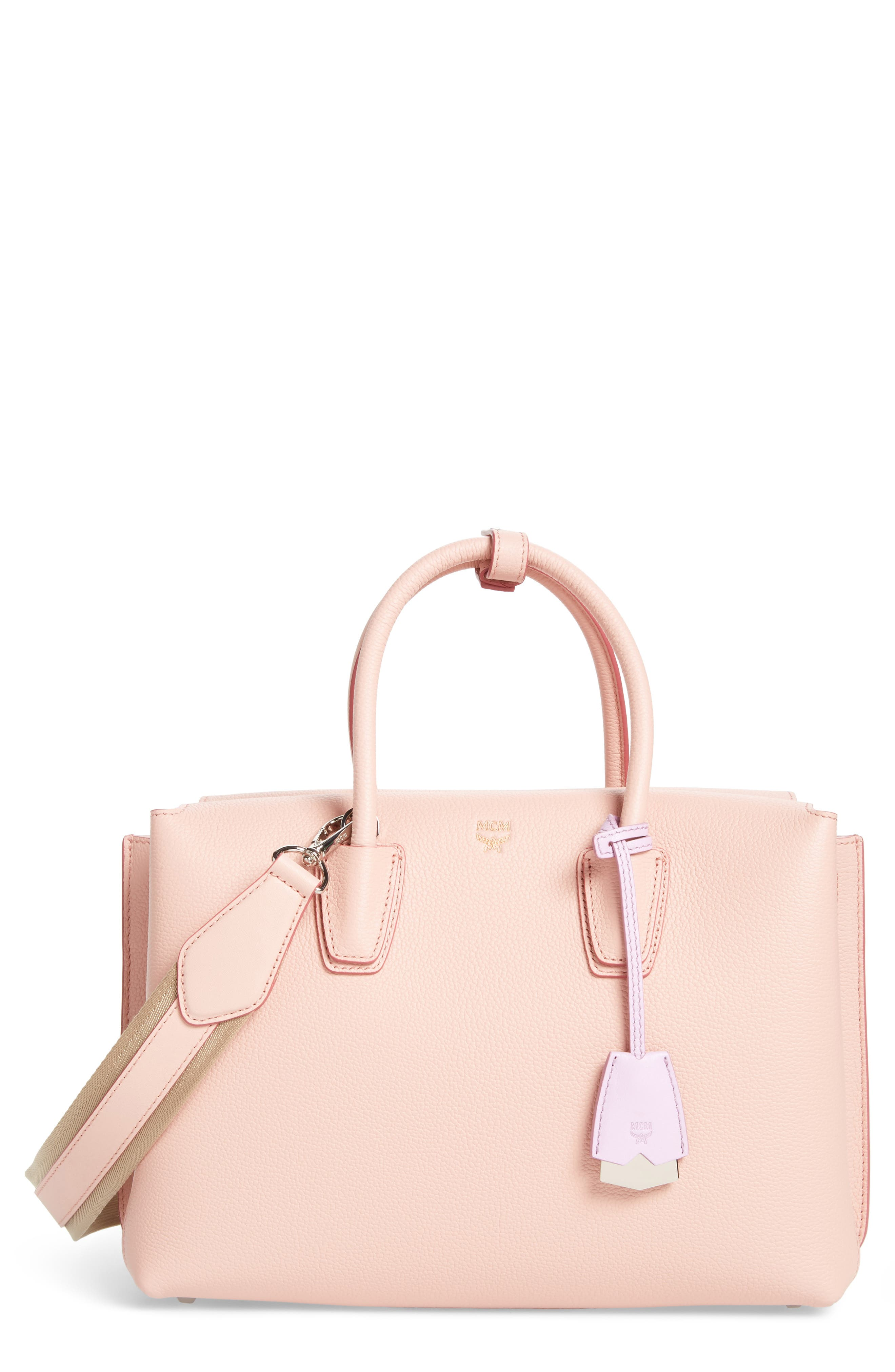 Medium Milla Leather Tote,                             Main thumbnail 1, color,                             Pink Blush