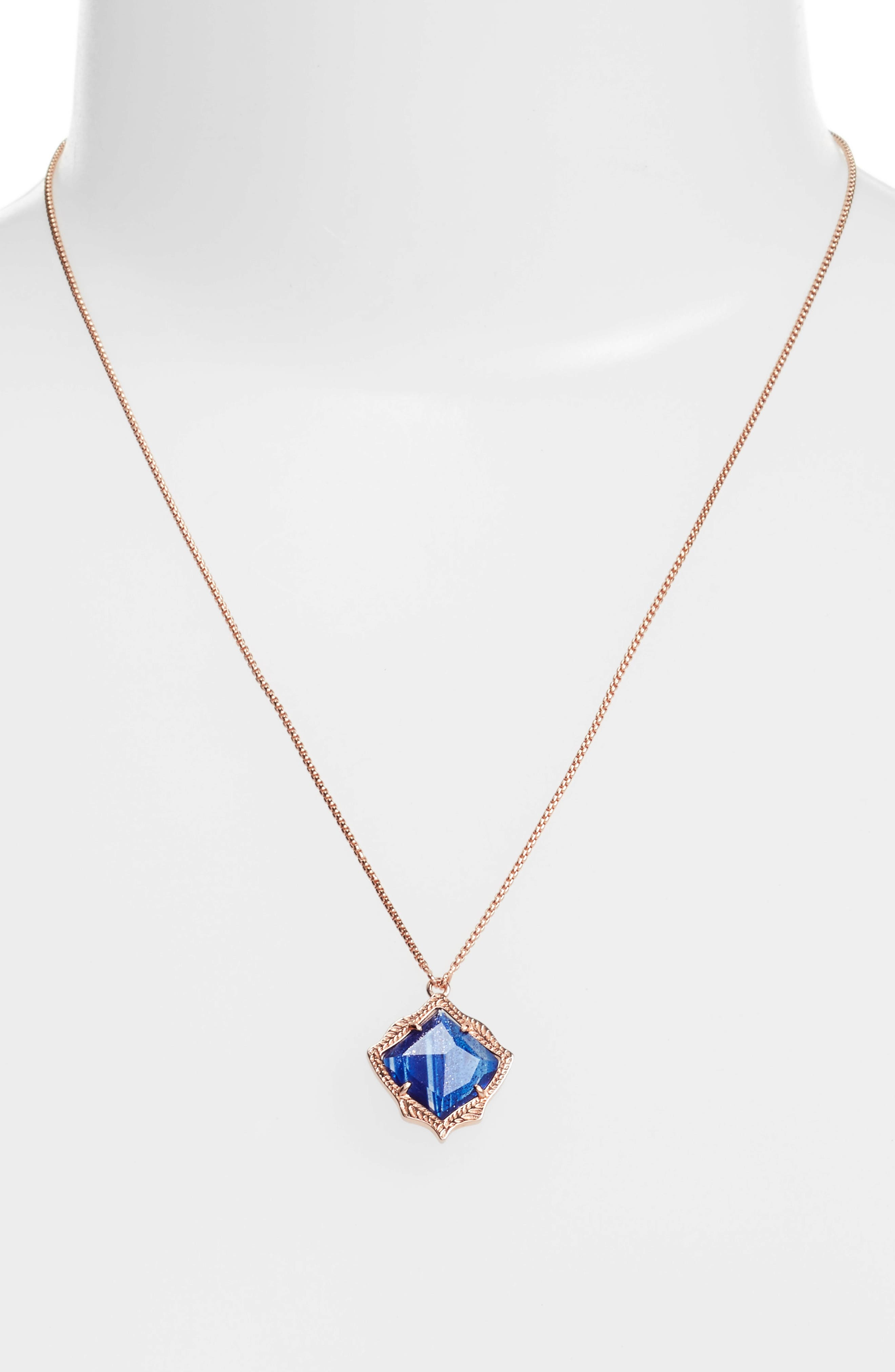 Kacey Pendant Necklace,                             Alternate thumbnail 3, color,                             Navy Dusted Glass/ Rose Gold
