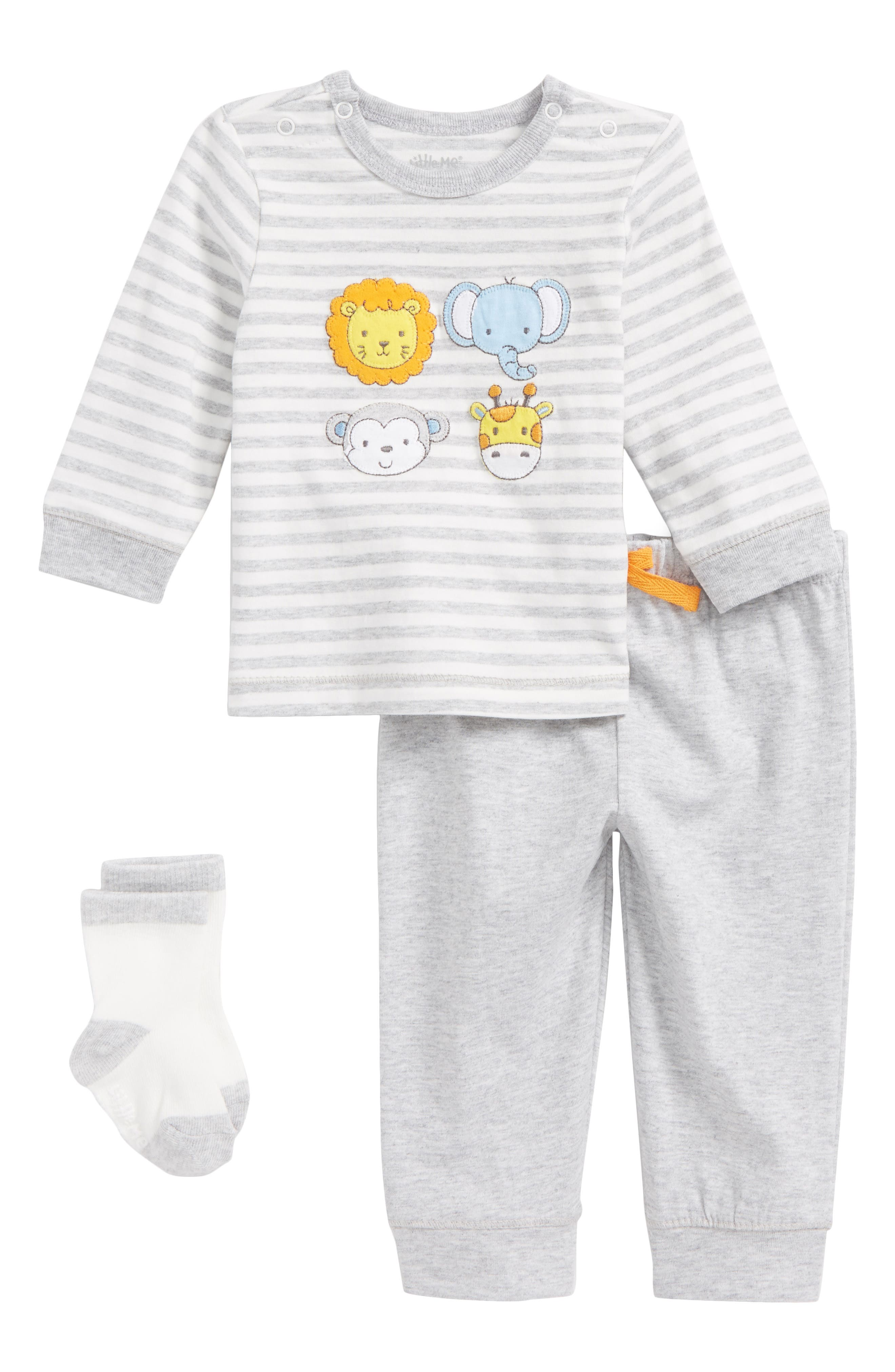 Alternate Image 1 Selected - Little Me Safari Pals T-Shirt, Jogger Pants & Socks Set (Baby)