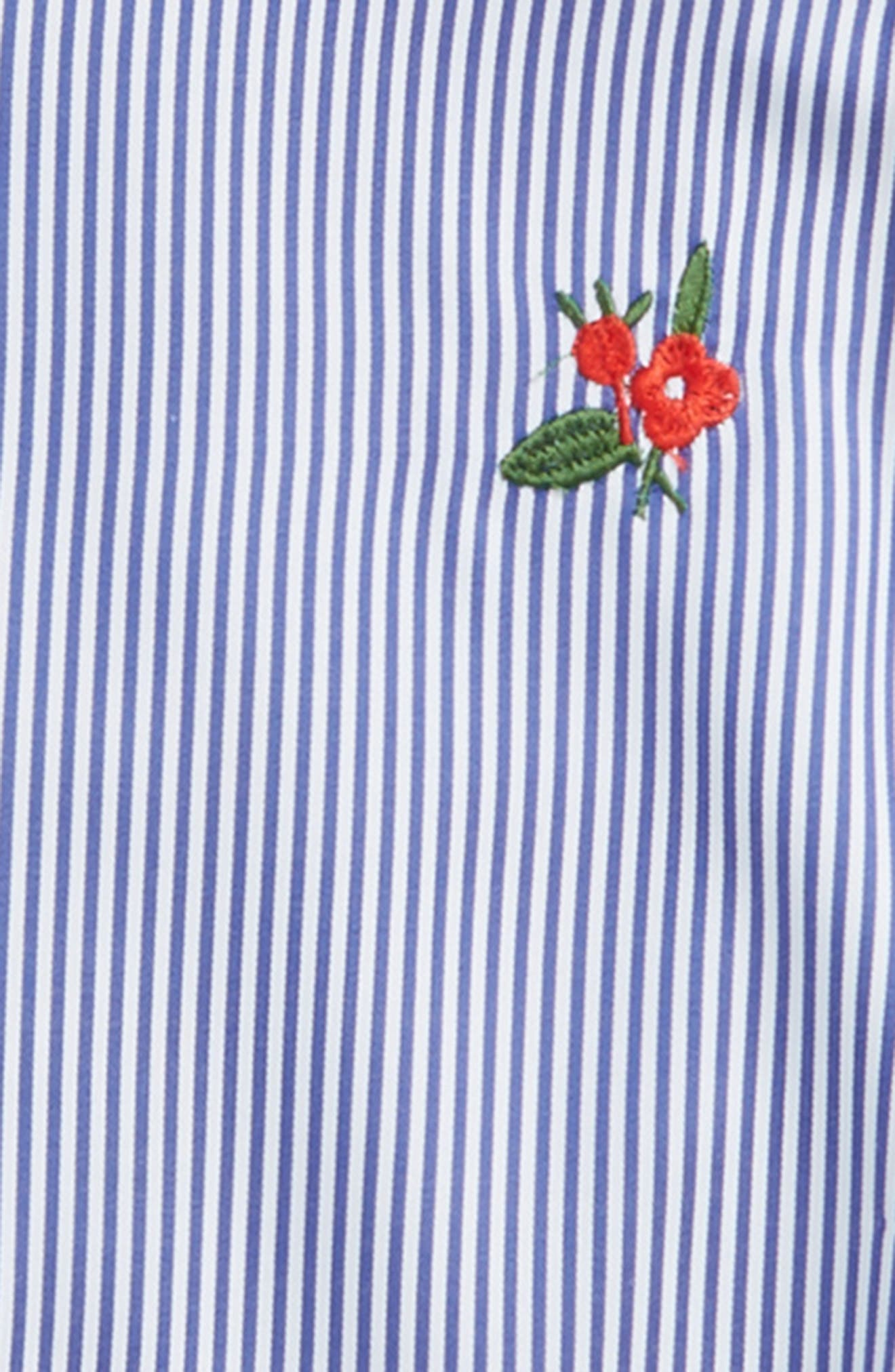 Embroidered Cold Shoulder Top,                             Alternate thumbnail 2, color,                             Blue Stripes