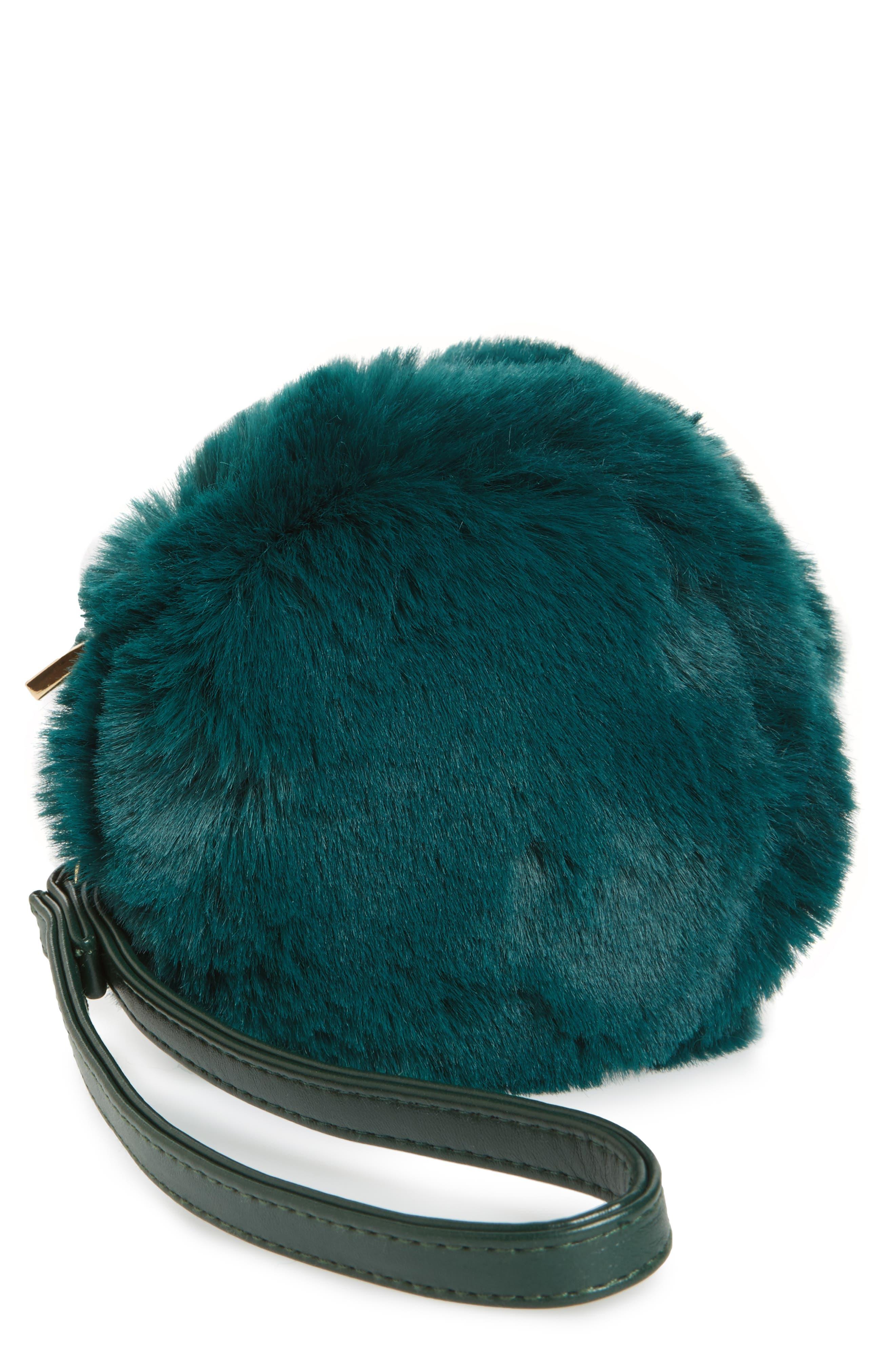 Macaron Faux Fur Wristlet,                             Main thumbnail 1, color,                             Green