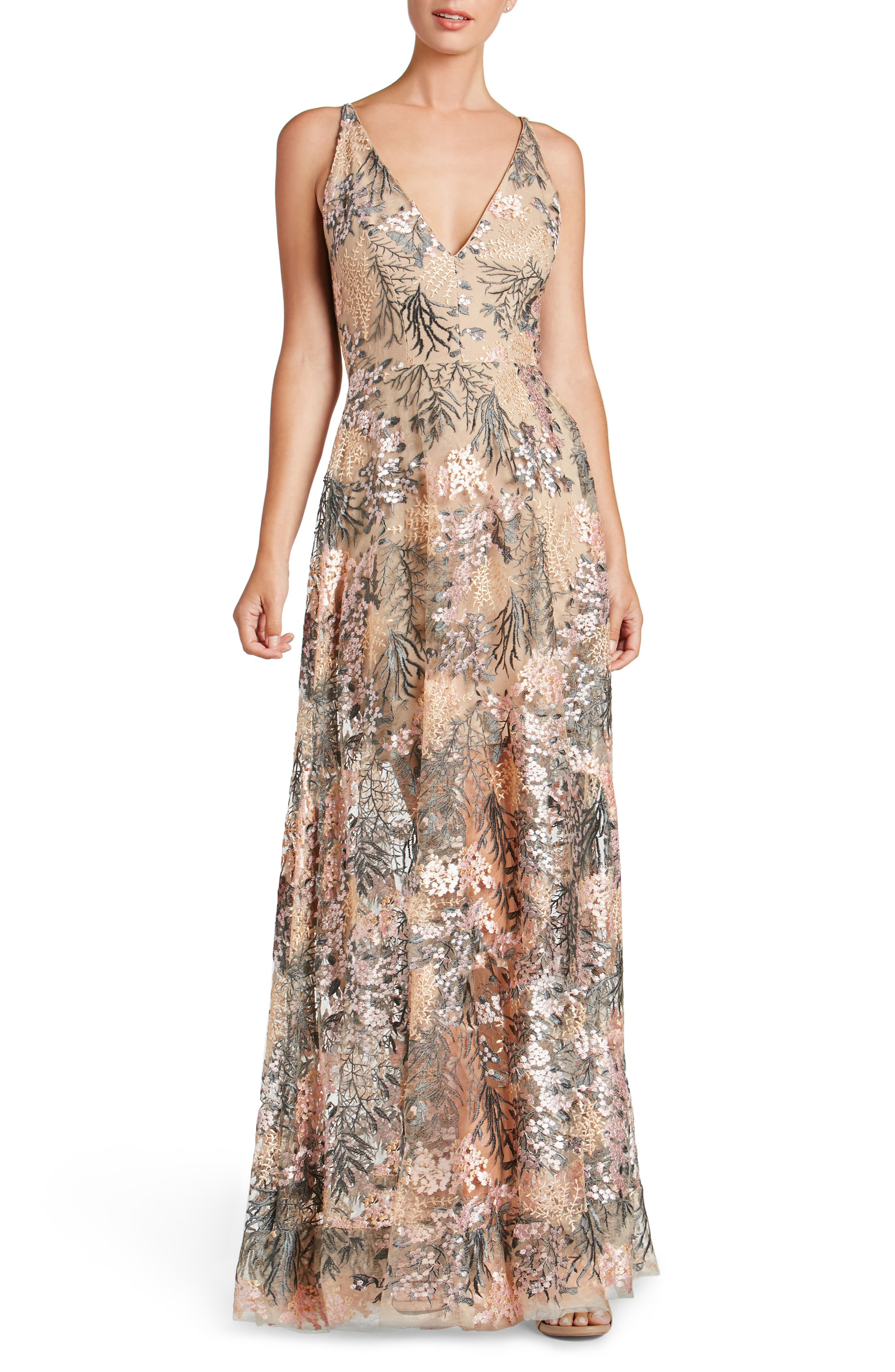Sidney Embroidered Fit & Flare Gown,                         Main,                         color, Pink Blossom