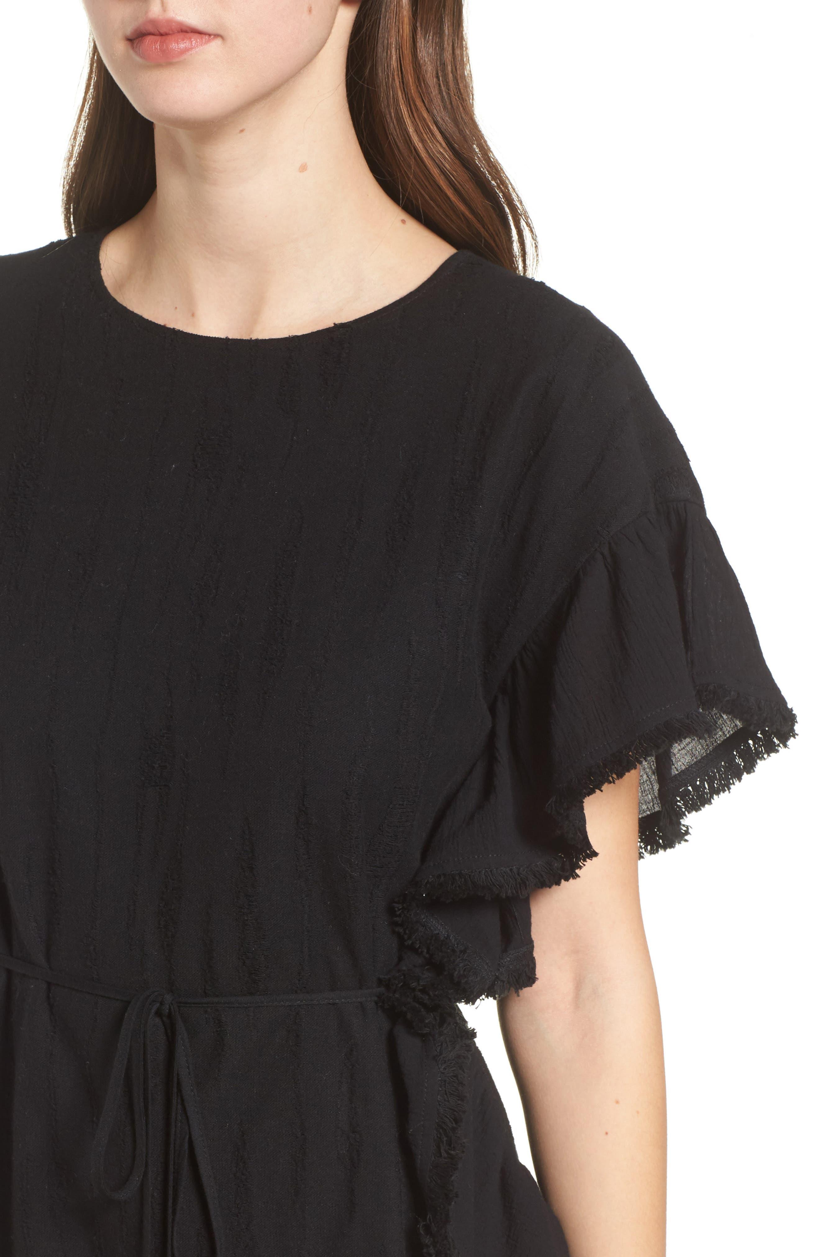 Ruffle Edge Dress,                             Alternate thumbnail 4, color,                             Black