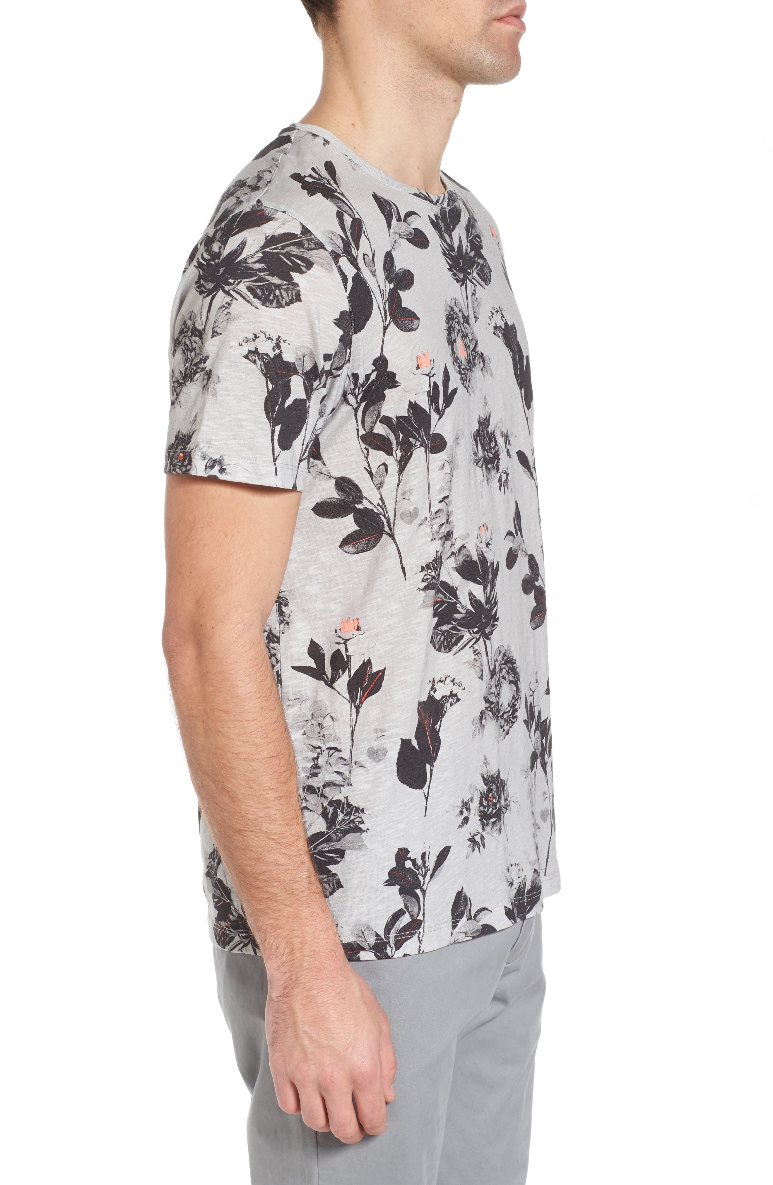 Doberma Trim Fit Floral Print T-Shirt,                             Alternate thumbnail 3, color,                             Grey