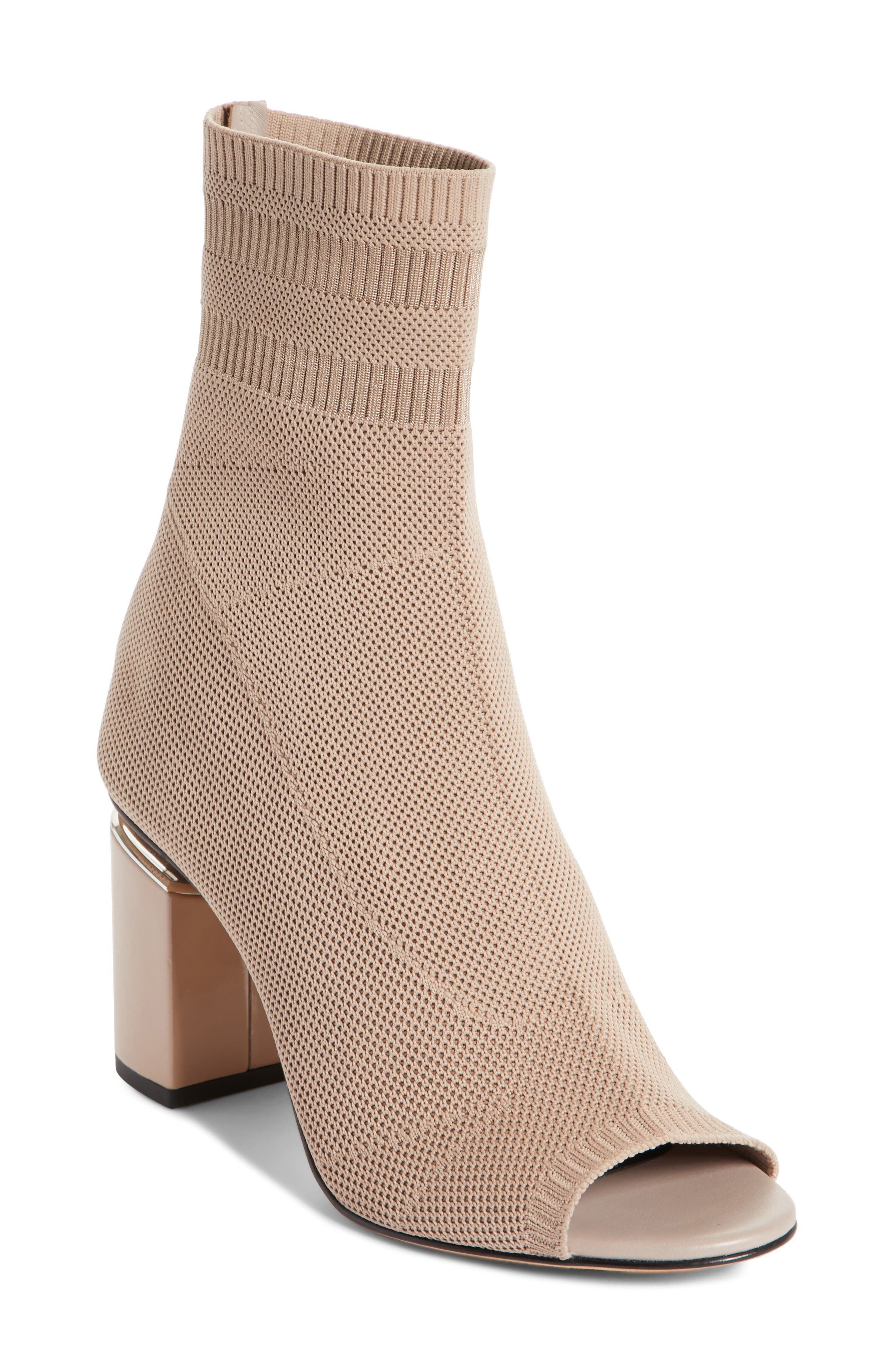 Cat Knit Sock Boot,                             Main thumbnail 1, color,                             Nude