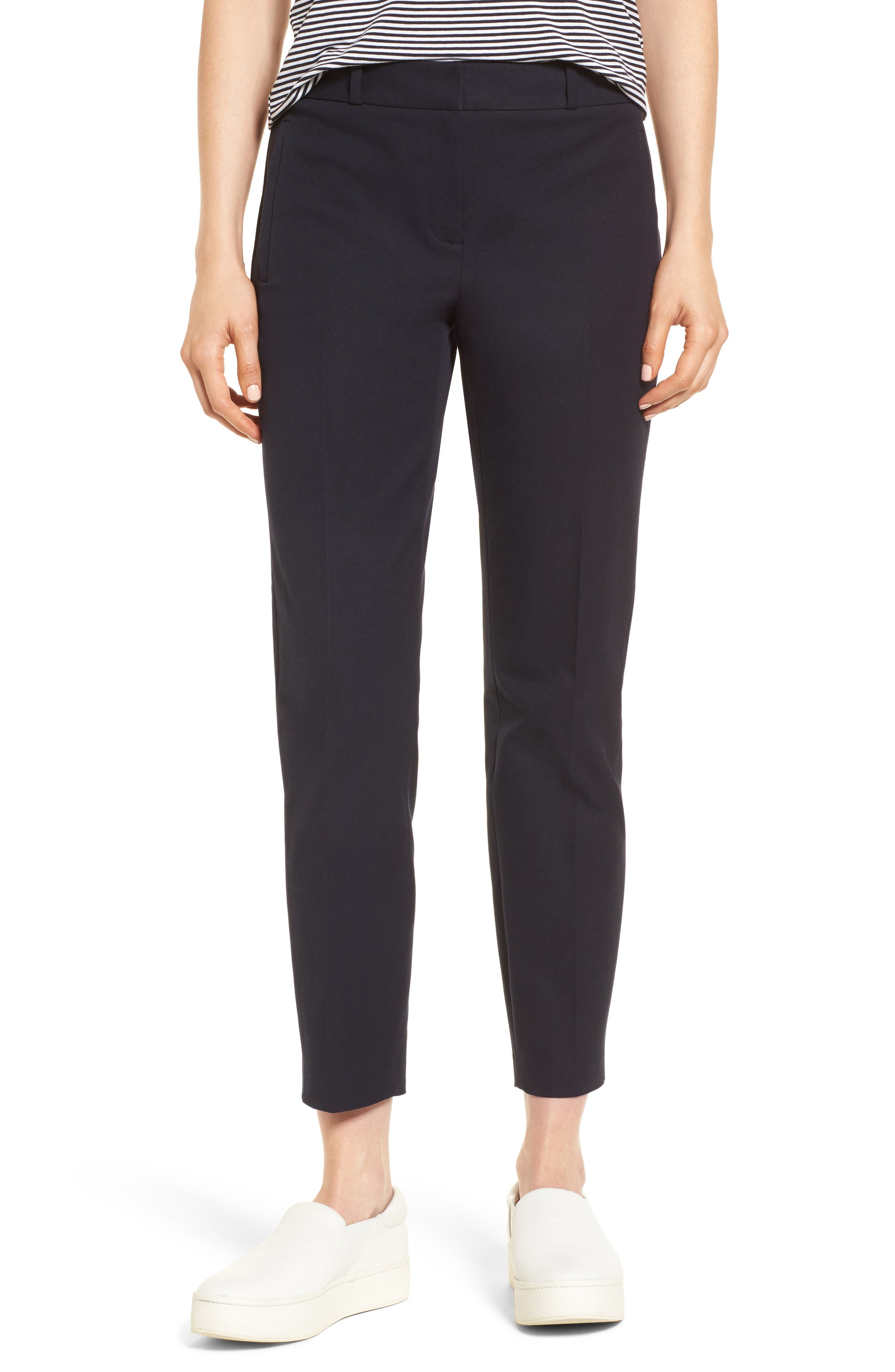 Welt Pocket Slim Leg Crop Pants,                             Main thumbnail 1, color,                             Navy Night