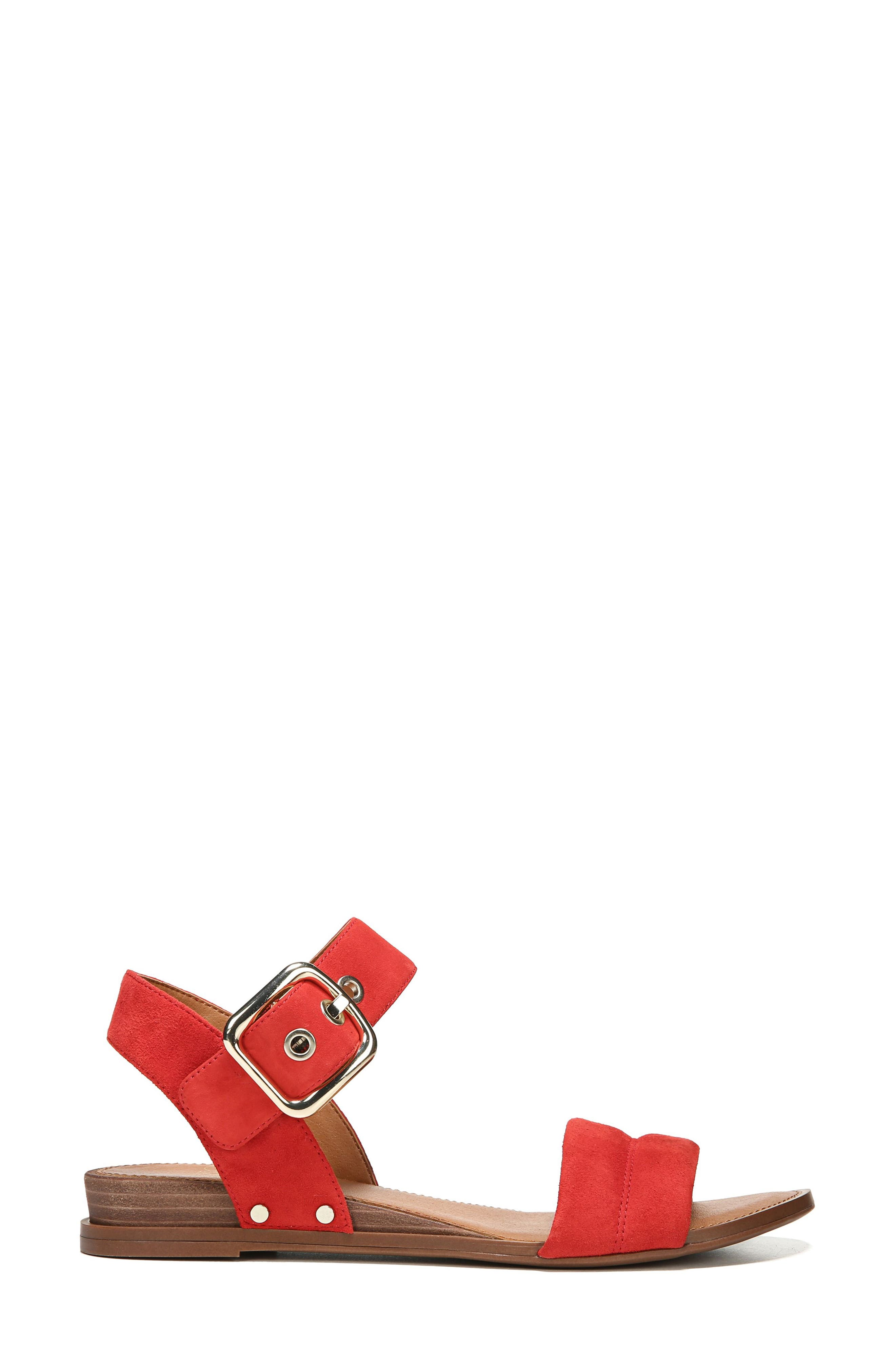 Patterson Low Wedge Sandal,                             Alternate thumbnail 3, color,                             Pop Red Suede