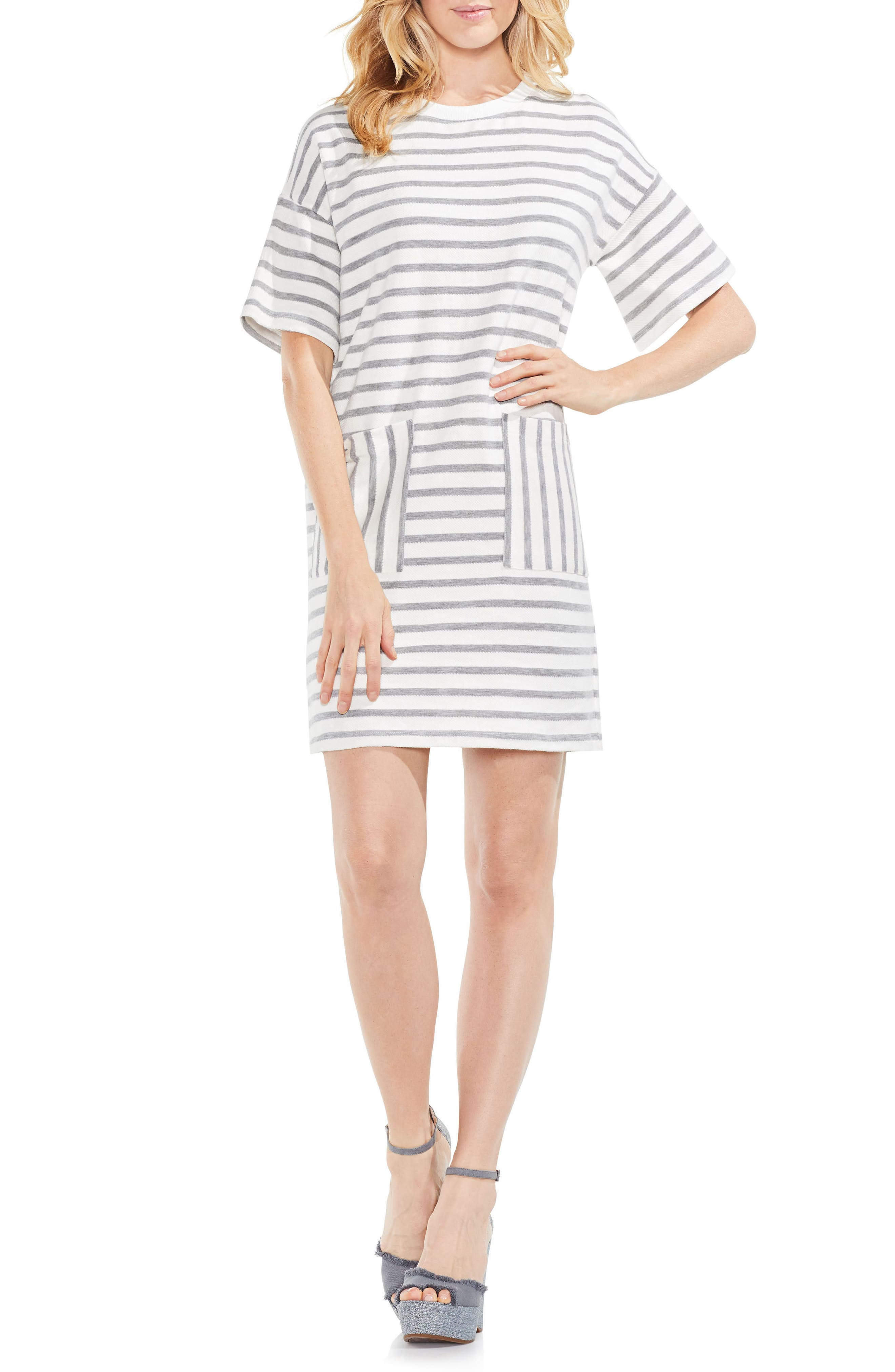 Drop Shoulder Stripe Shift Dress,                         Main,                         color, Grey Heather