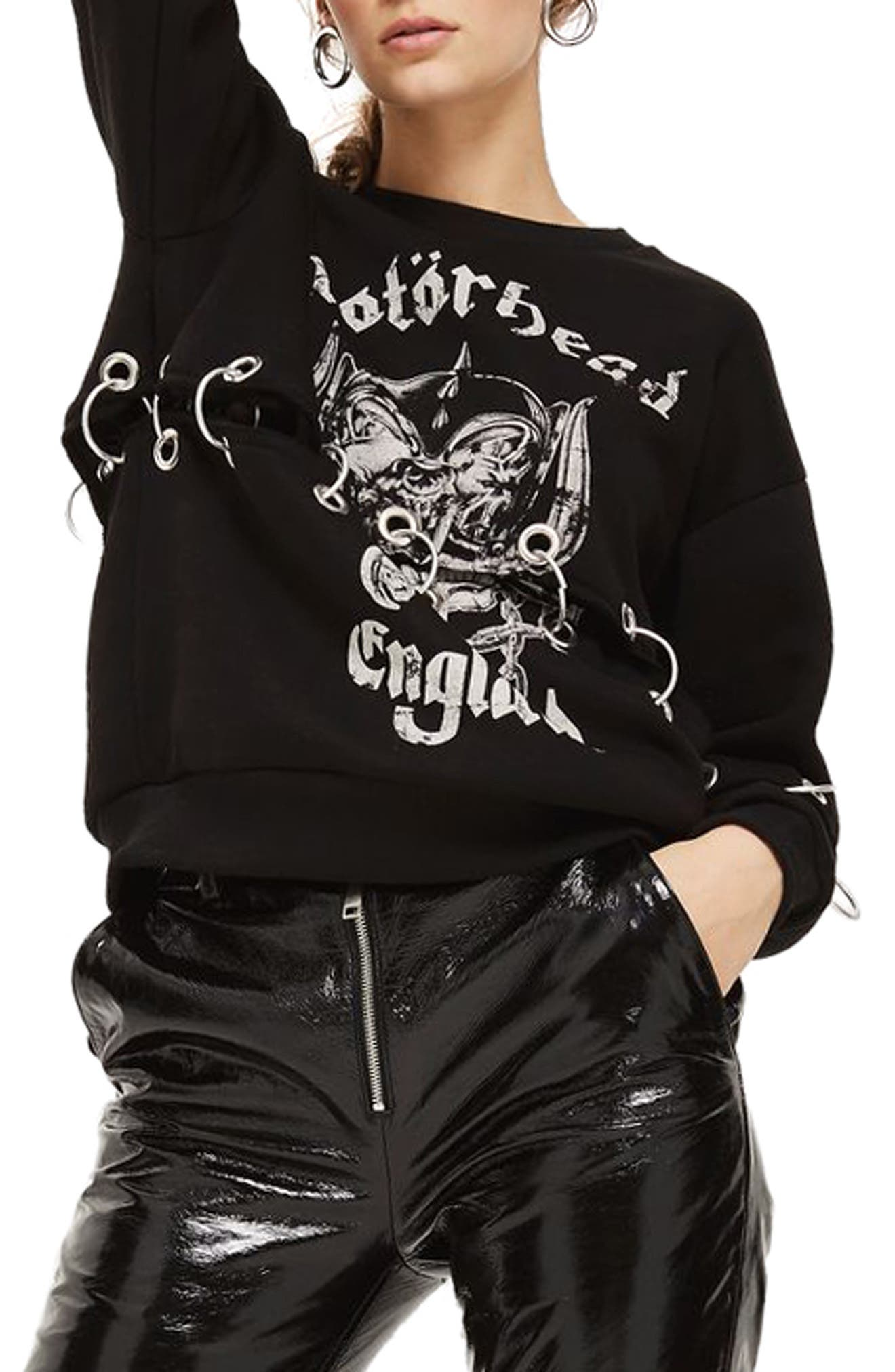 by And Finally Motörhead Ring Detail Sweatshirt,                         Main,                         color, Black Multi