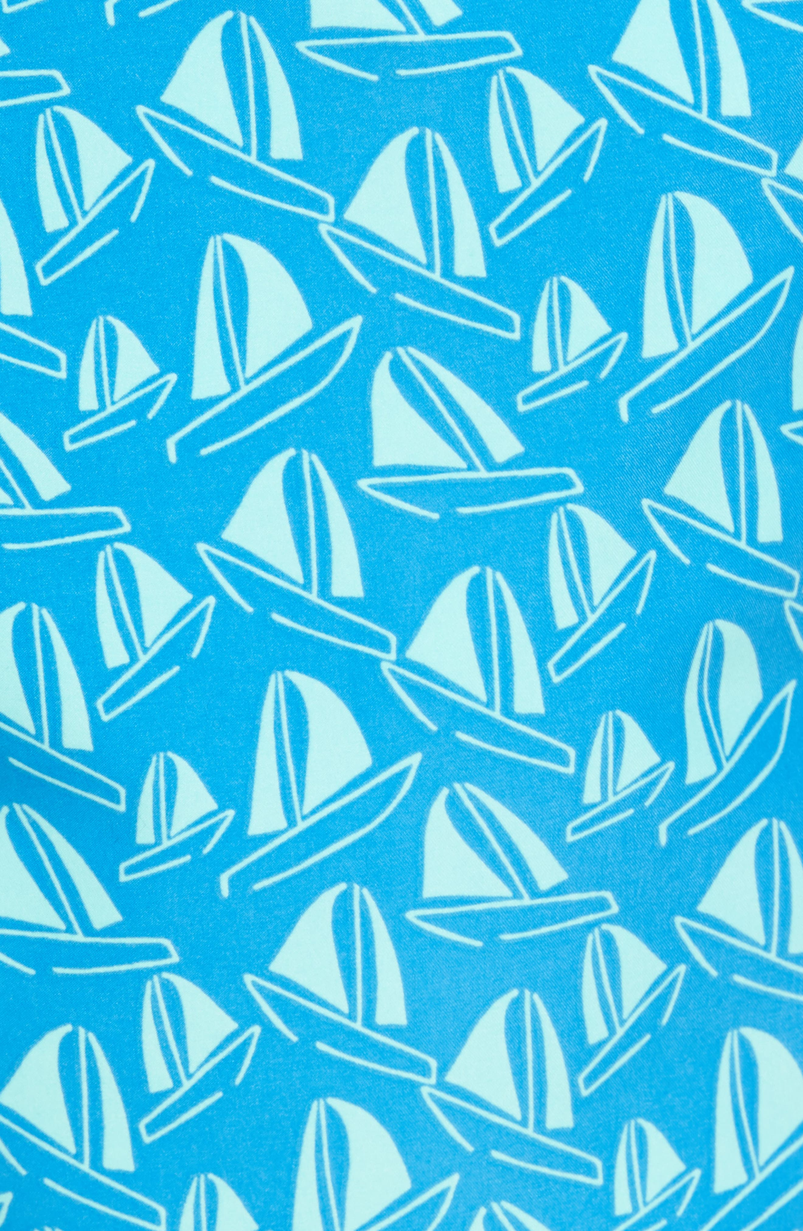 Boat Print Swim Trunks,                             Alternate thumbnail 5, color,                             French Blue And Sky