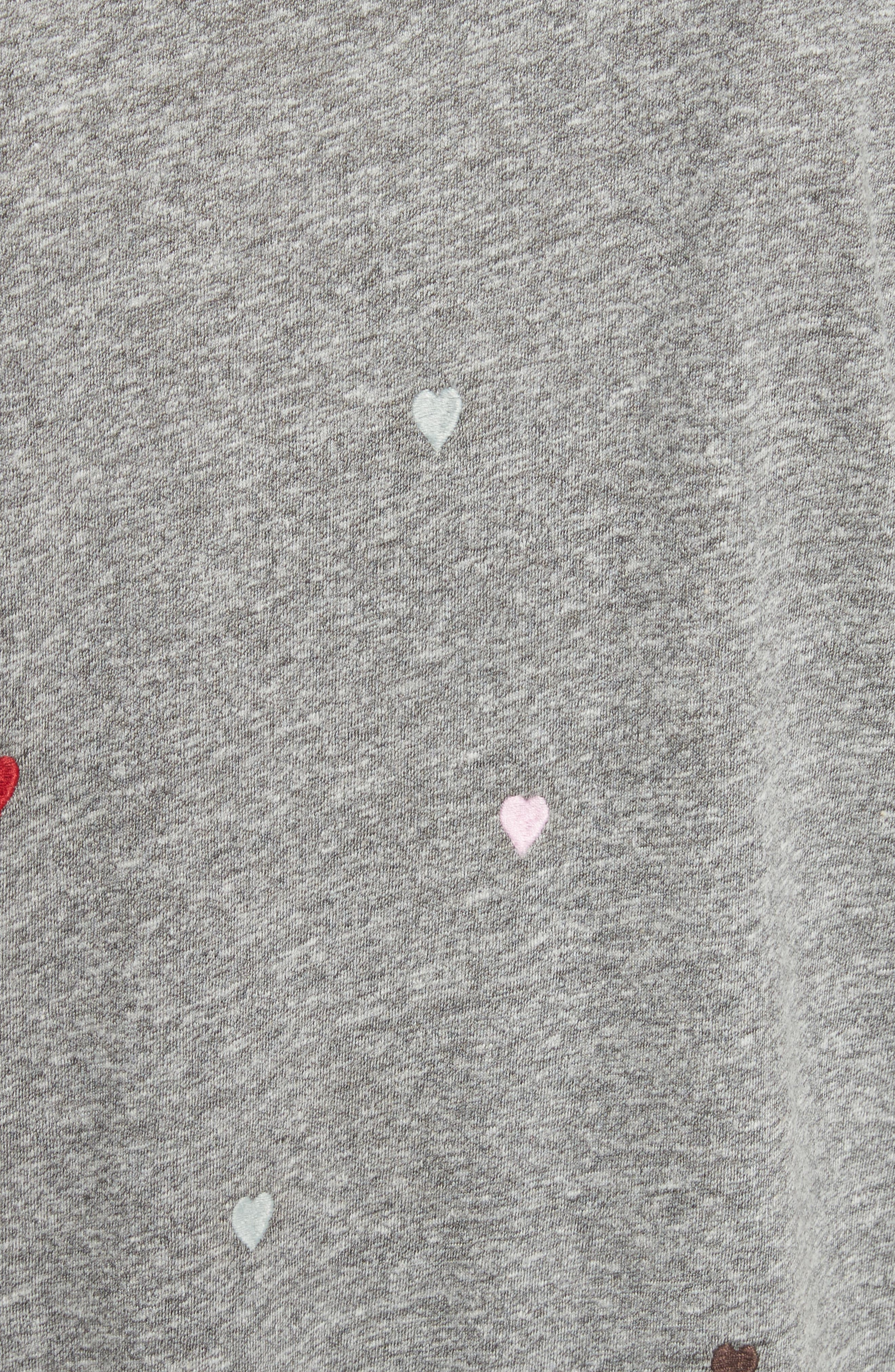 The Boxy Embroidered T-Shirt Dress,                             Alternate thumbnail 5, color,                             Grey/ Heart Embroidery