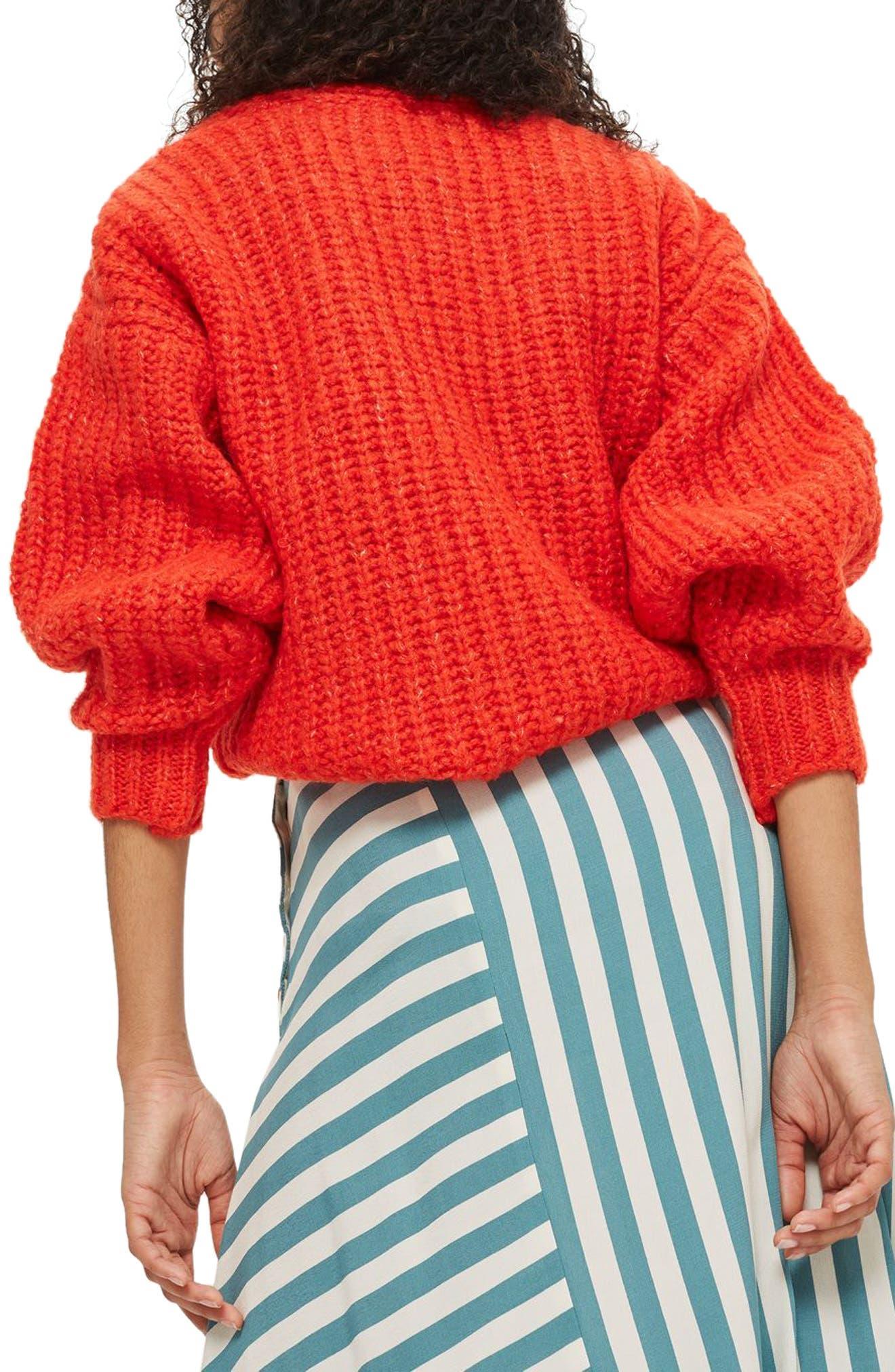 Oversized V-Neck Sweater,                             Alternate thumbnail 2, color,                             Red
