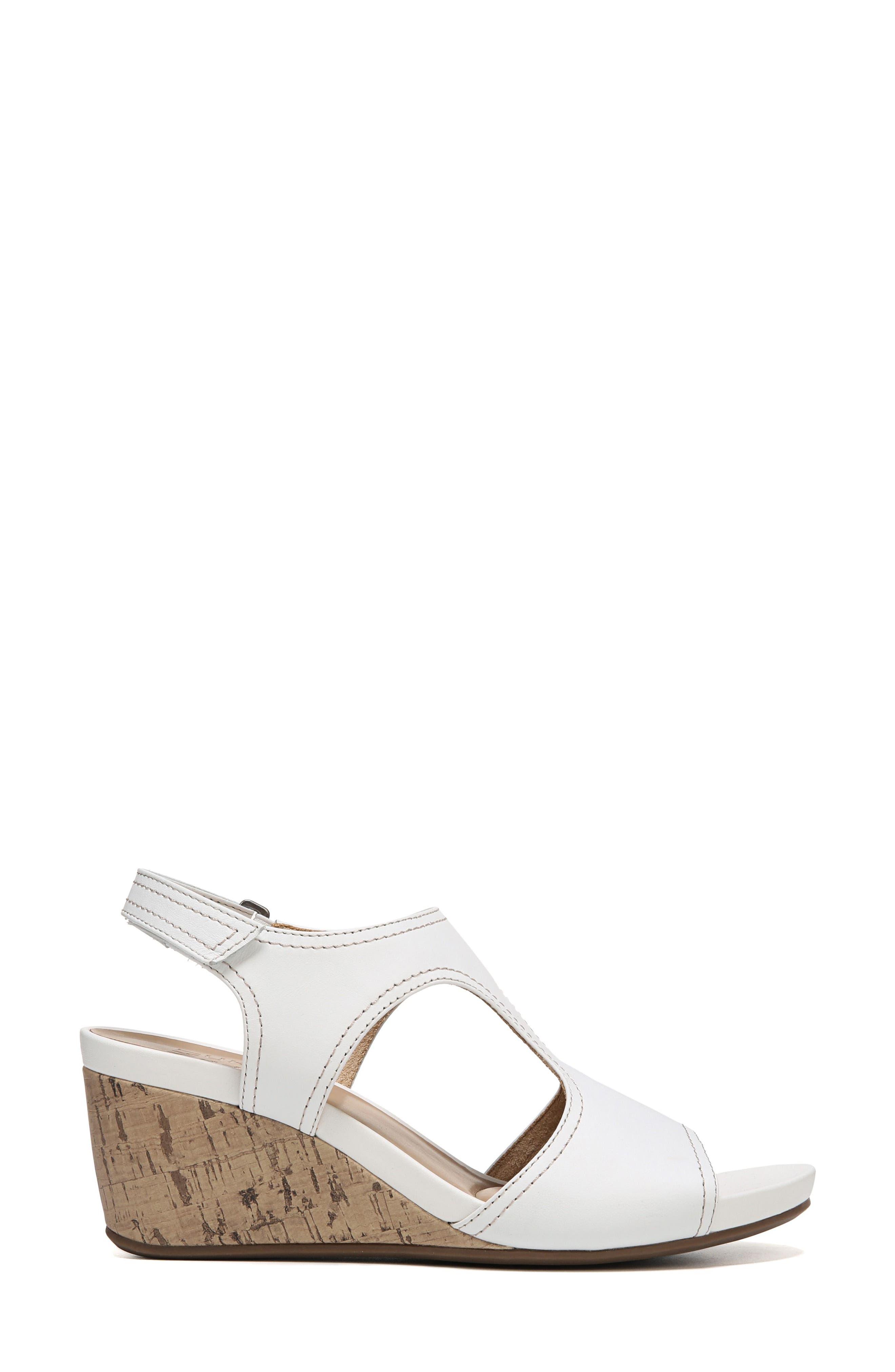 Cinda Wedge Sandal,                             Alternate thumbnail 3, color,                             White Leather
