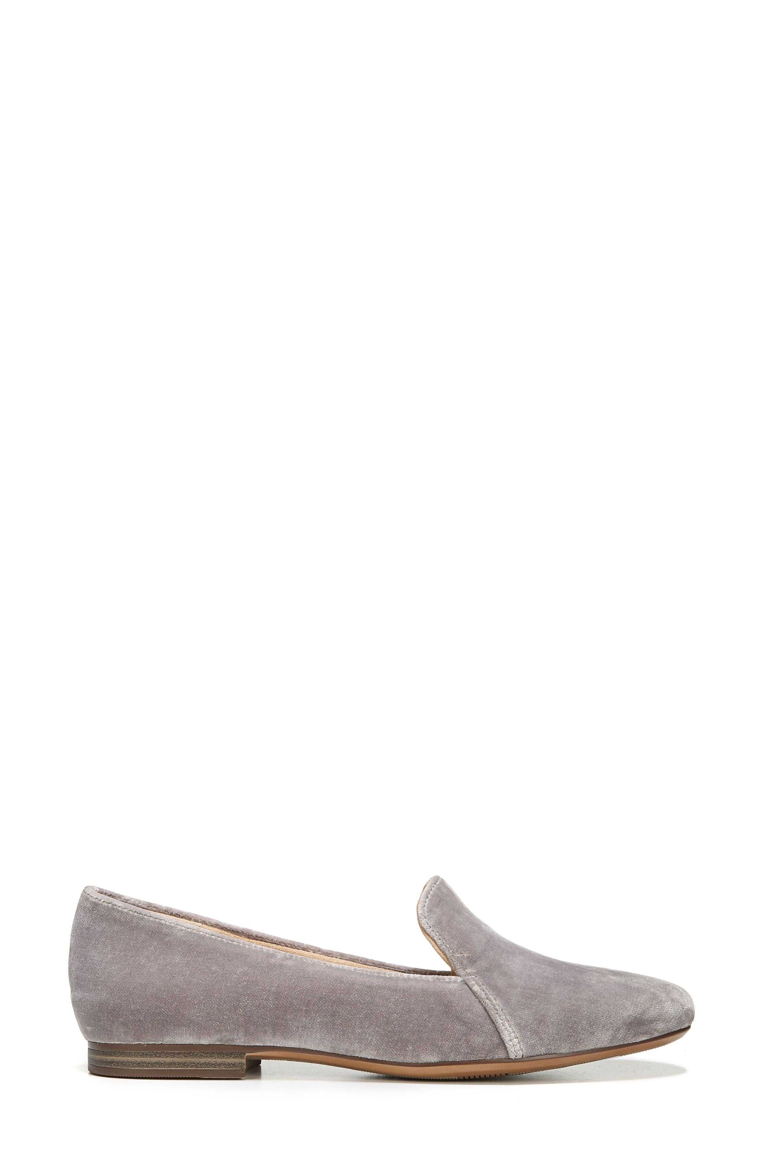 Emiline Flat Loafer,                             Alternate thumbnail 3, color,                             Taupe Velvet Fabric