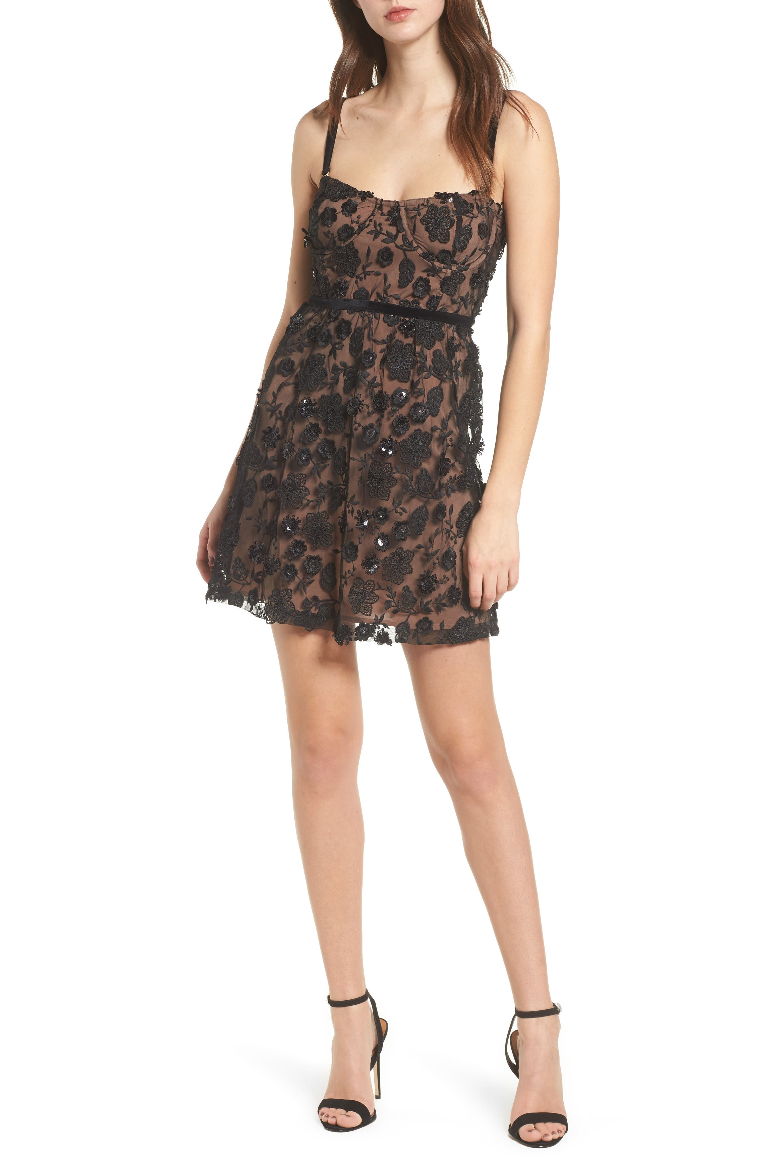 Beatrice Minidress,                         Main,                         color, Black