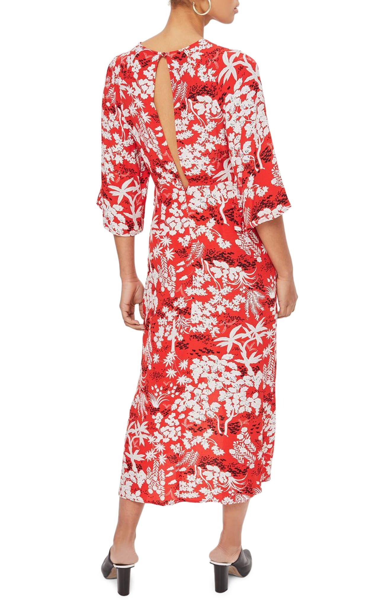 Knotted Midi Dress,                             Alternate thumbnail 2, color,                             Red Multi