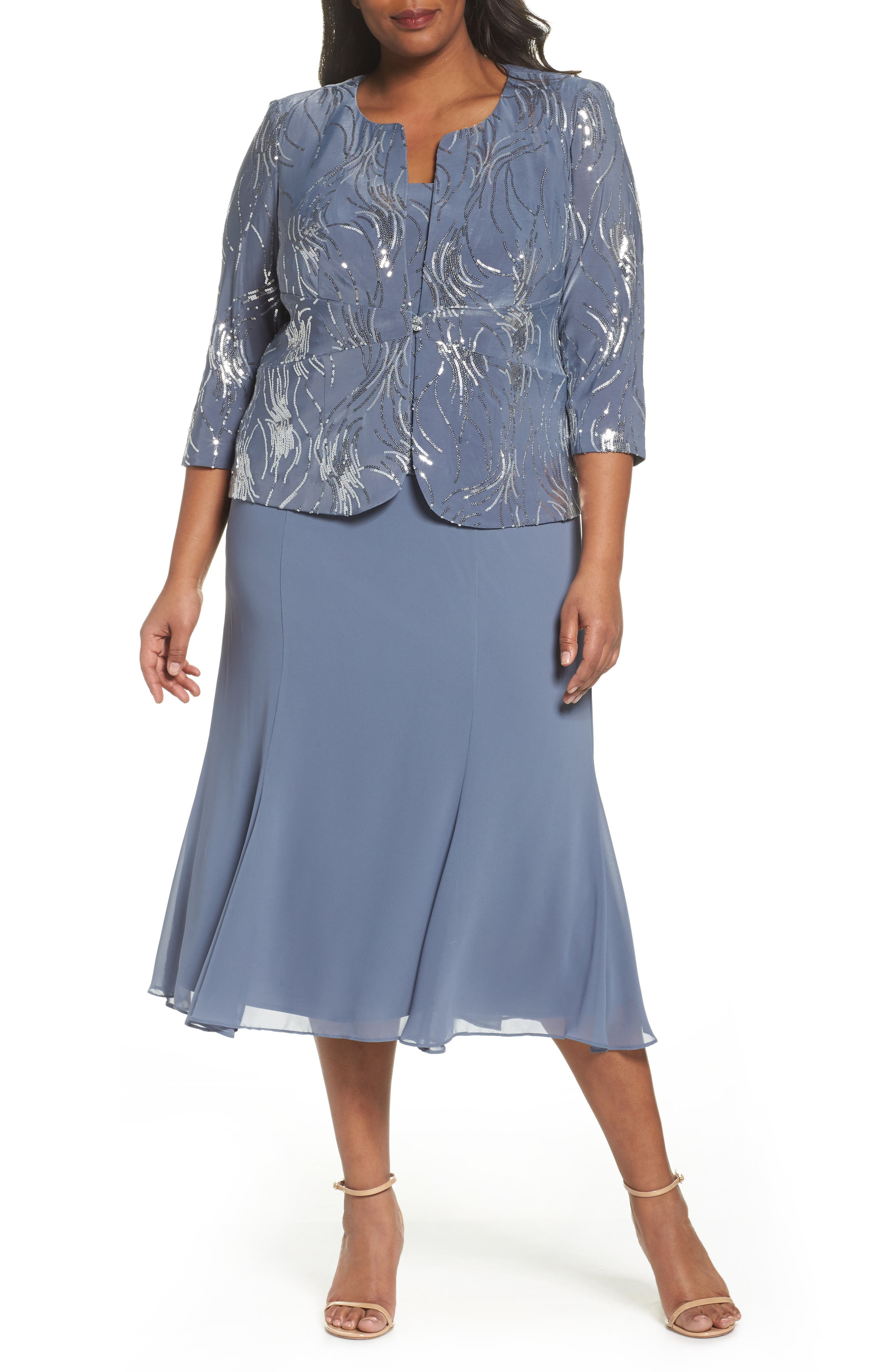 Mock Two-Piece Jacket Dress,                         Main,                         color, Steel Blue