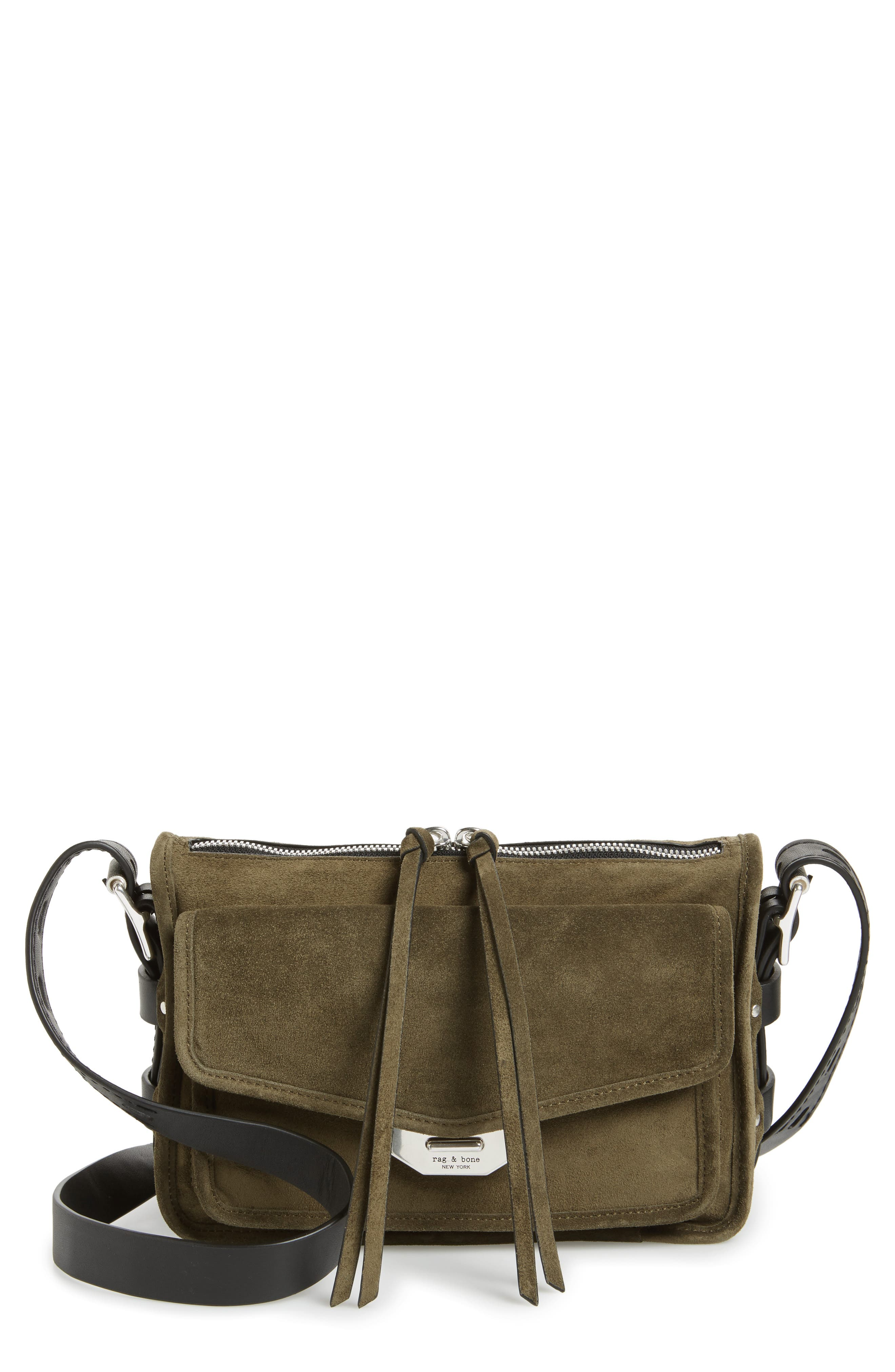 Small Leather Field Messenger Bag,                             Main thumbnail 1, color,                             Olive Suede
