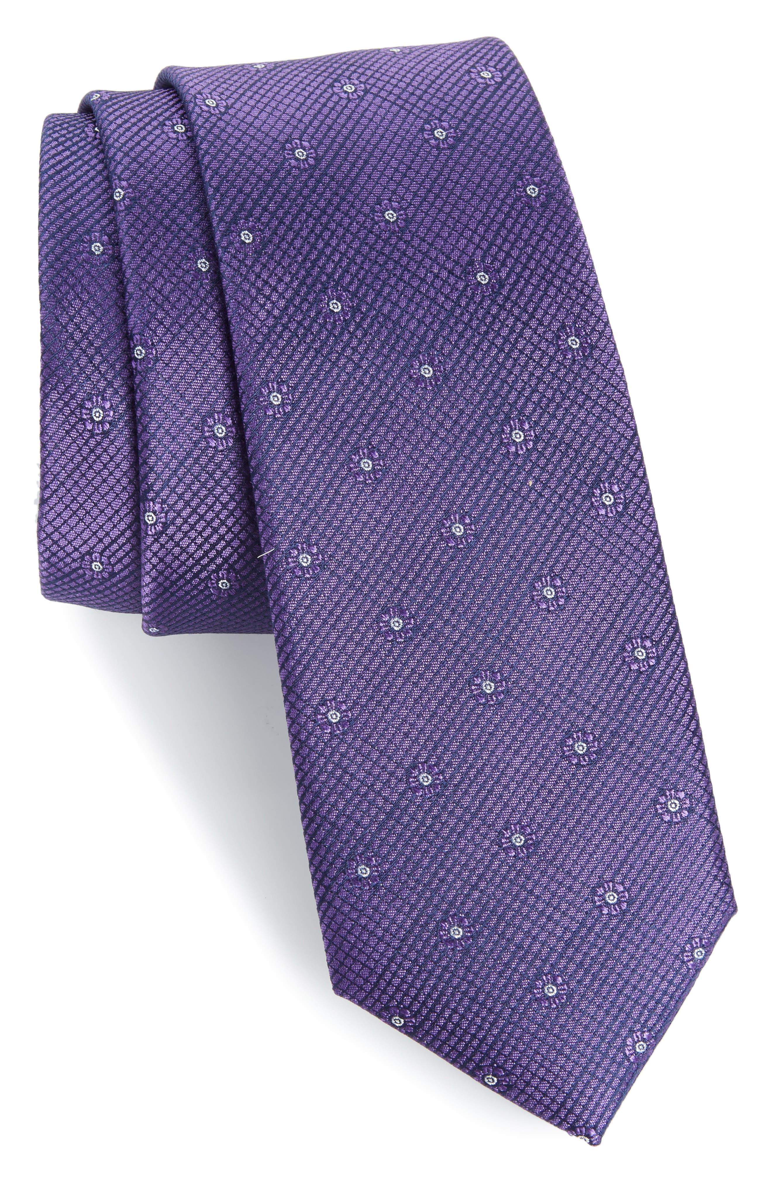 Fleur Medallion Silk Skinny Tie,                             Main thumbnail 1, color,                             Purple