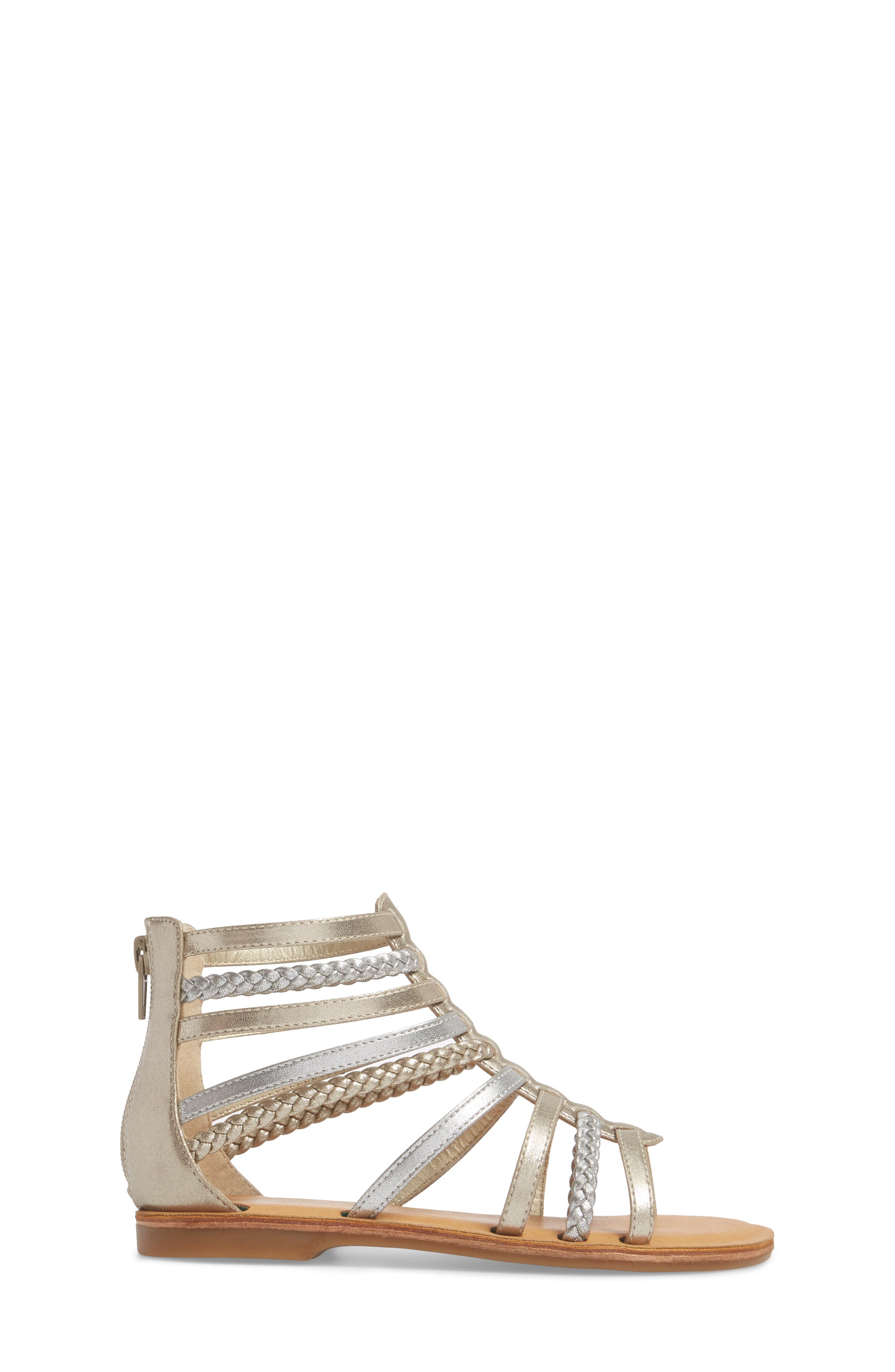 Sonja Braided Gladiator Sandal,                             Alternate thumbnail 3, color,                             Silver/ Gold Faux Leather