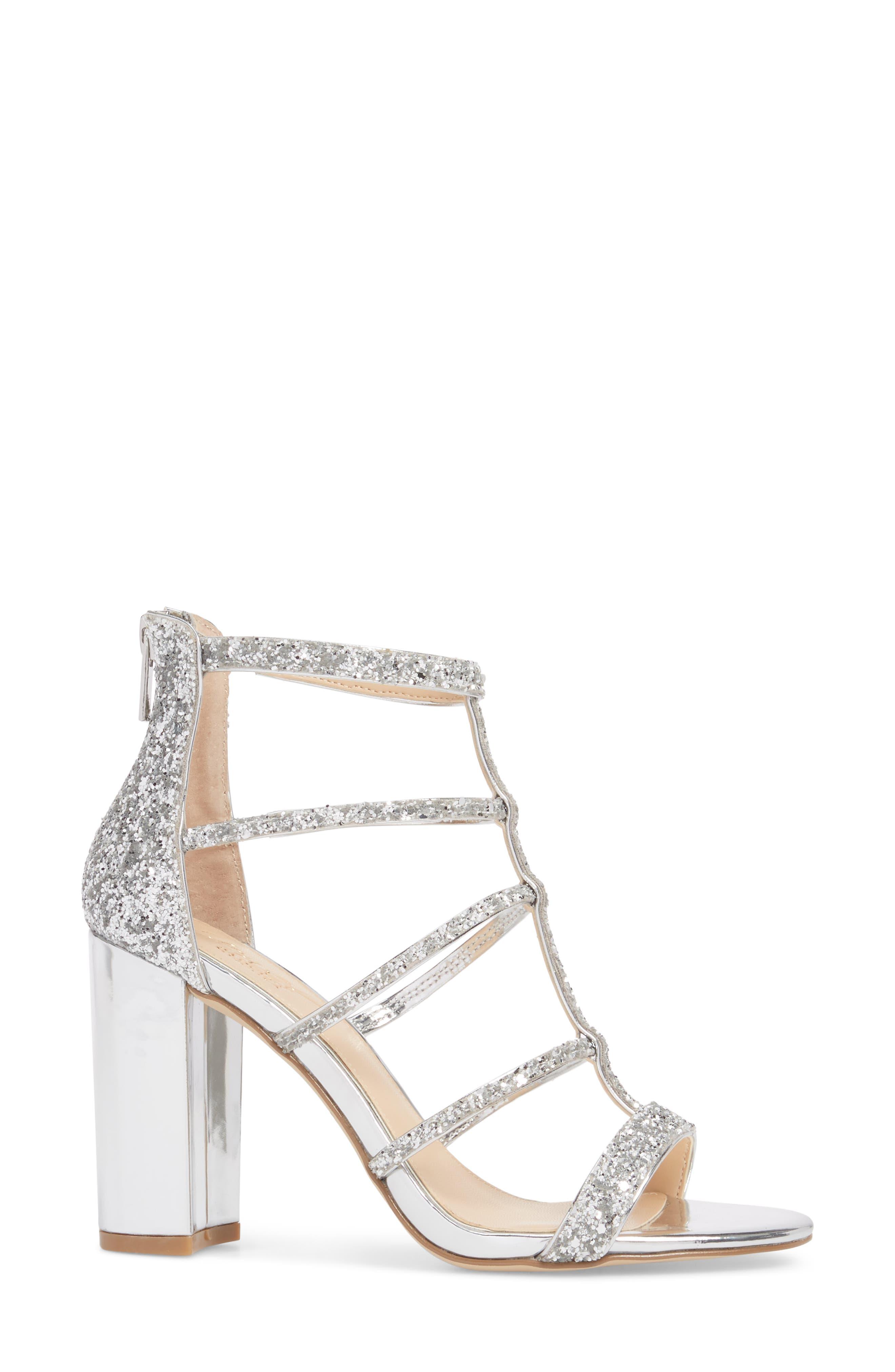 Alternate Image 3  - Jewel Badgley Mischka Tiffy Glitter Sandal (Women)