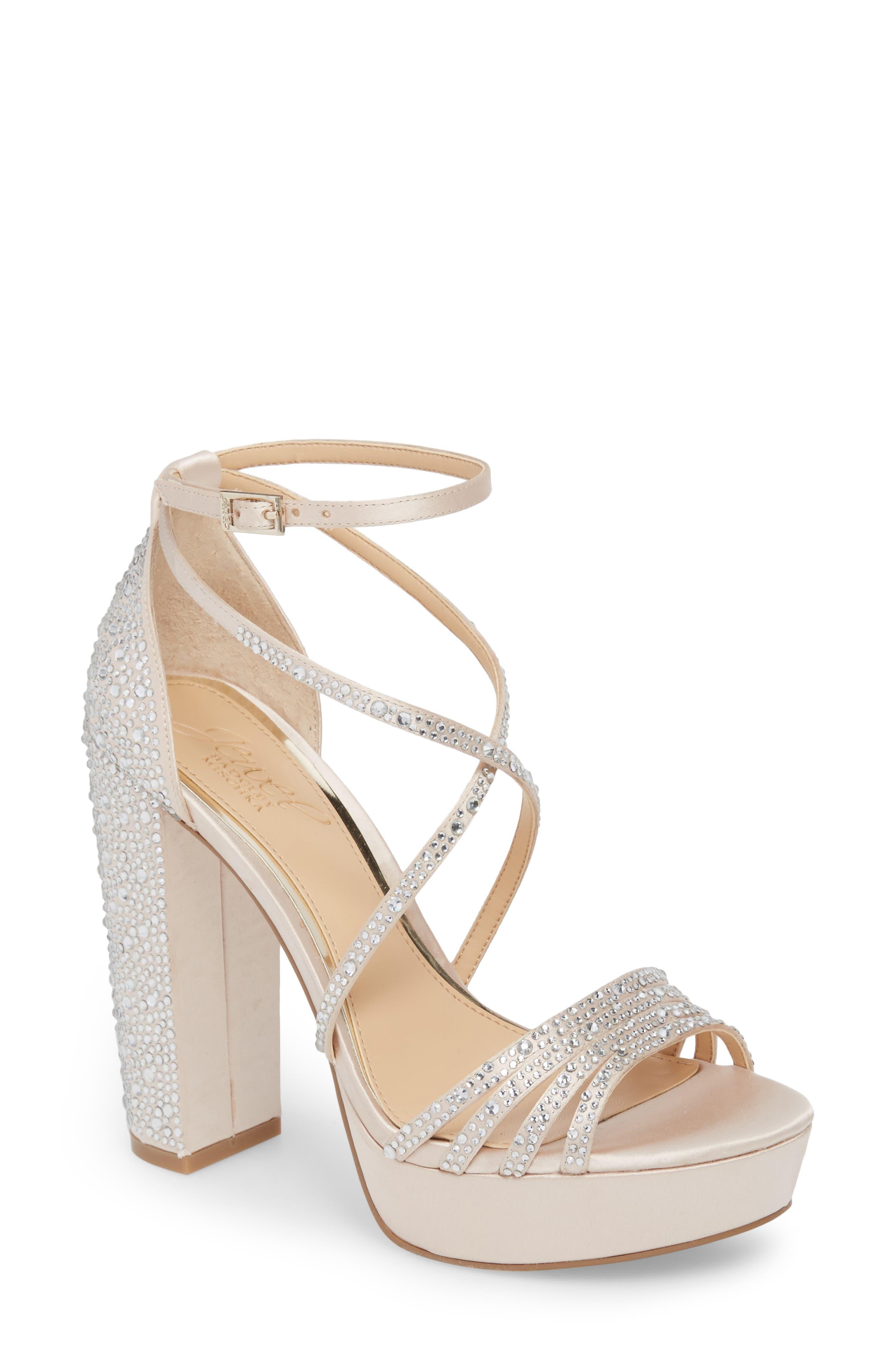 Tarah Crystal Embellished Platform Sandal,                         Main,                         color, Champagne Satin