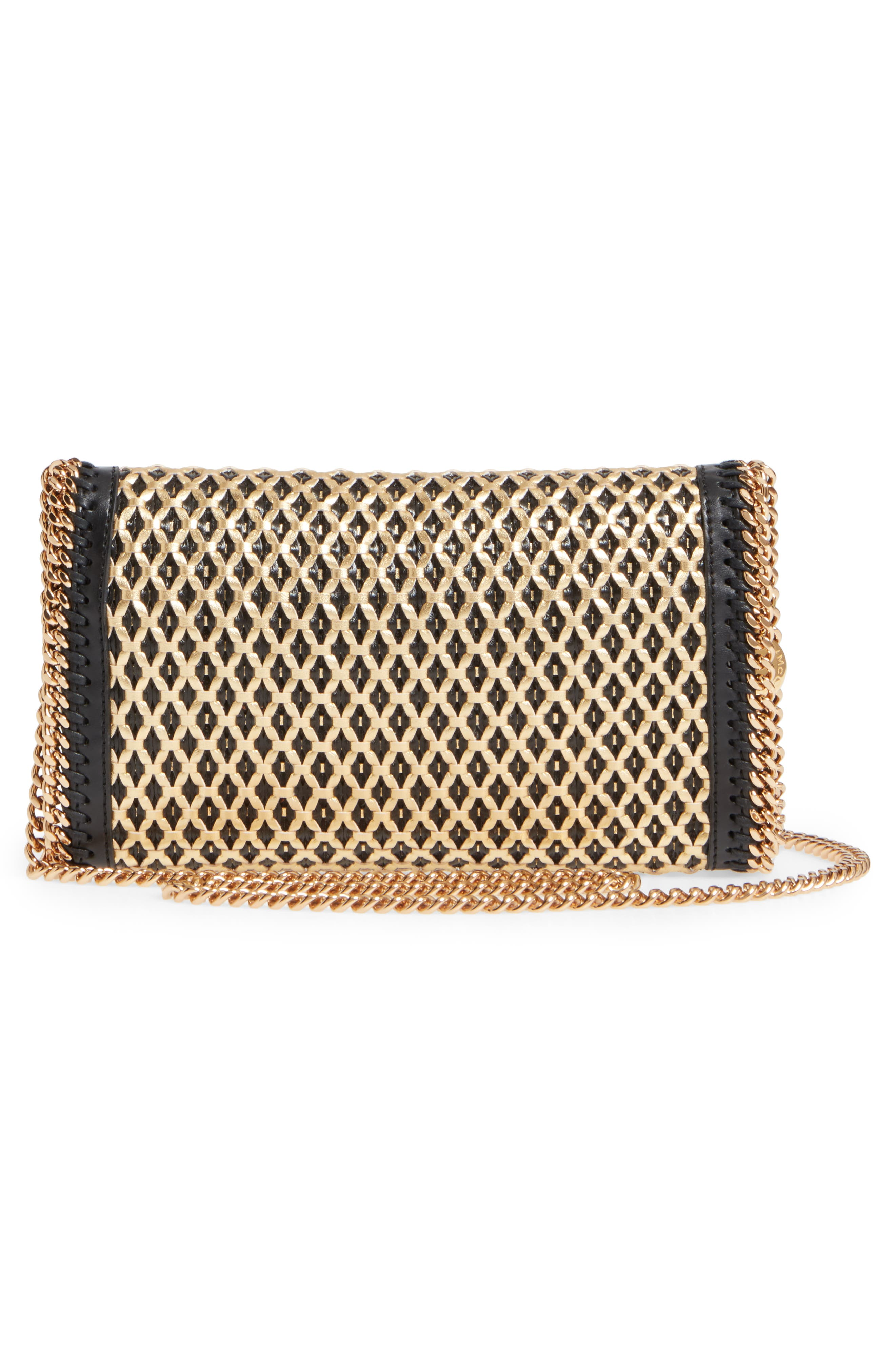 Falabella Woven Faux Leather Clutch,                             Alternate thumbnail 3, color,                             Black