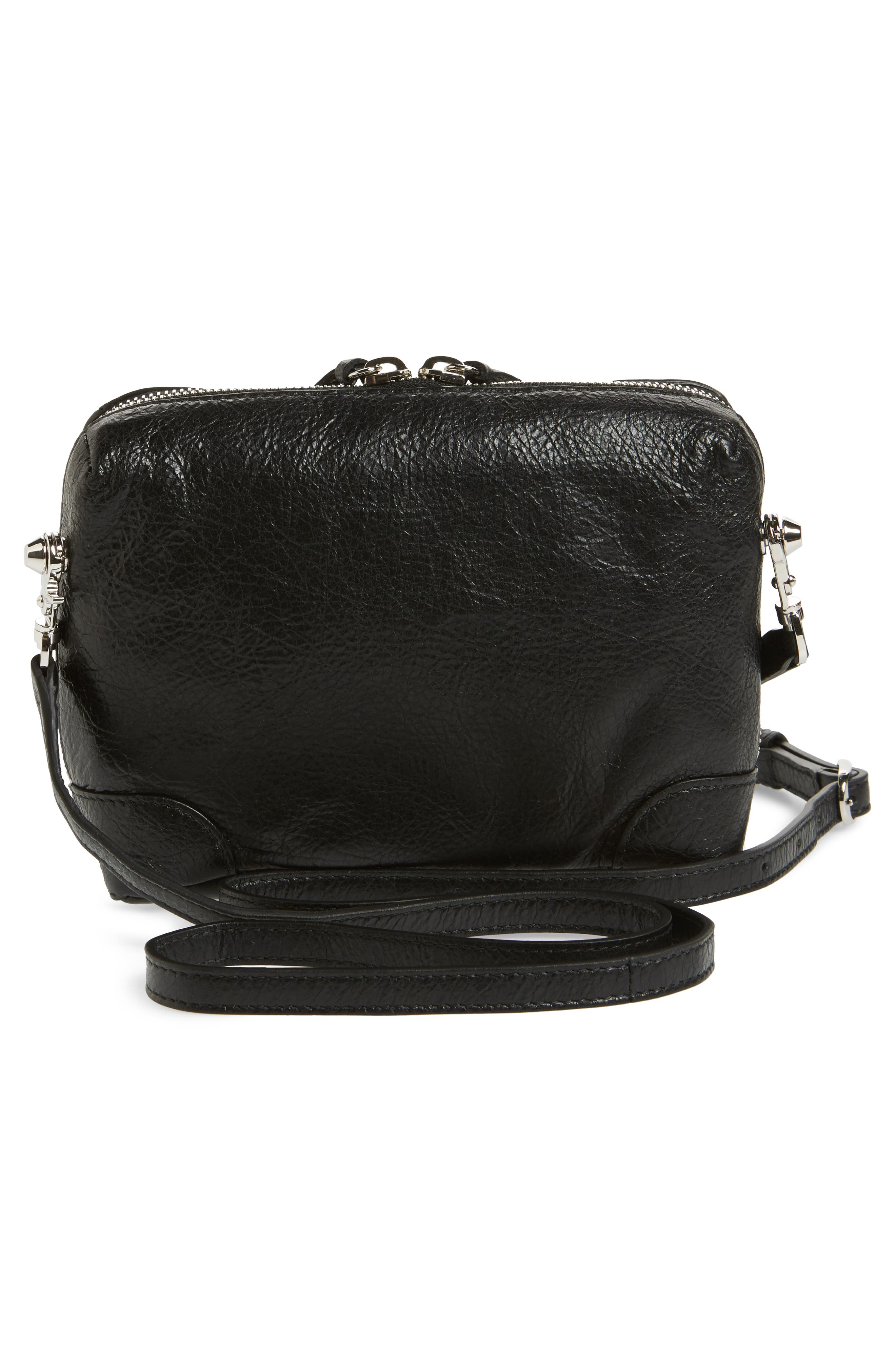 Extra Small Classic Reporter Leather Shoulder Bag,                             Alternate thumbnail 3, color,                             Noir
