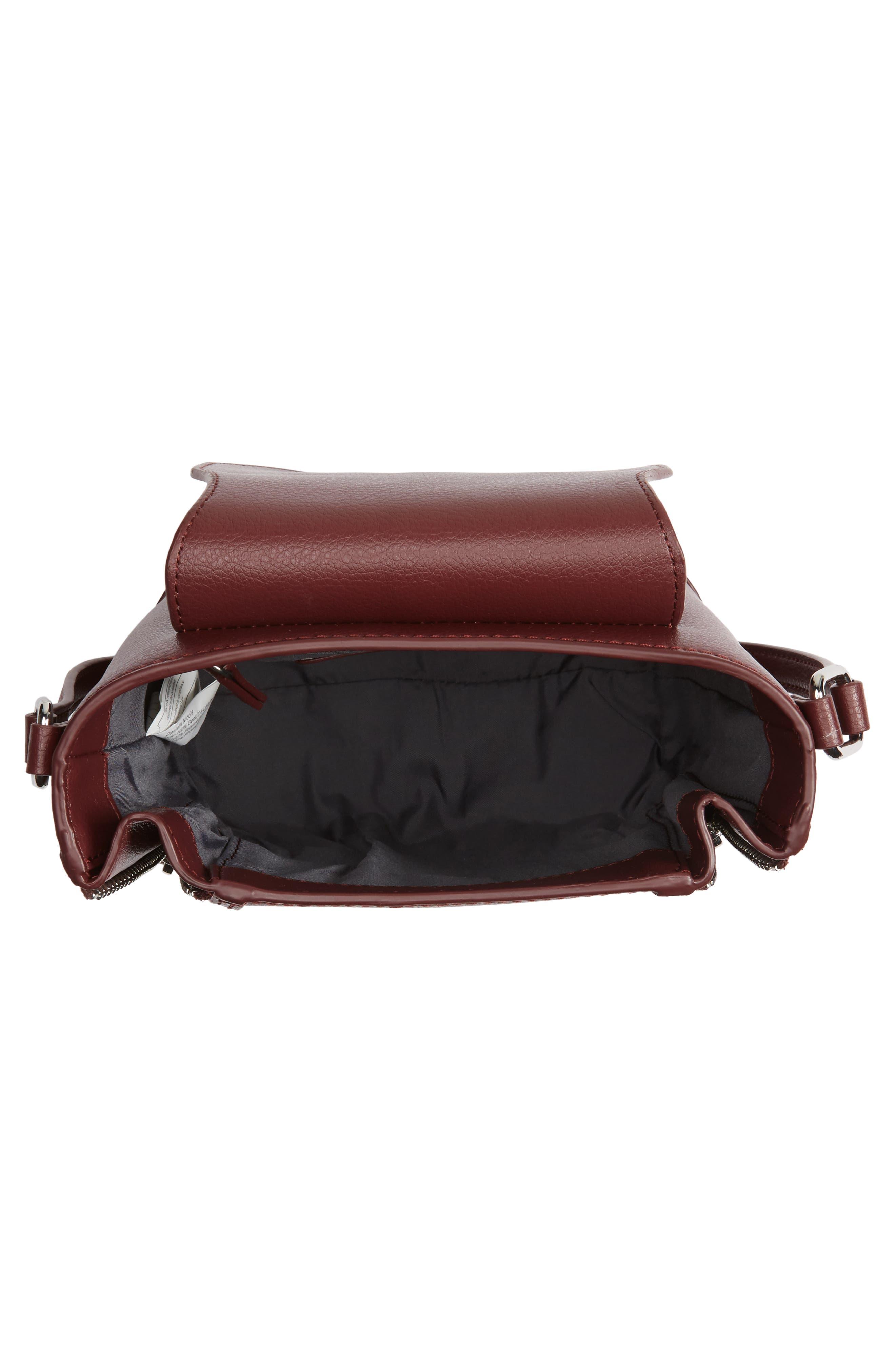 Beckett Leather Crossbody Bag,                             Alternate thumbnail 4, color,                             Wine