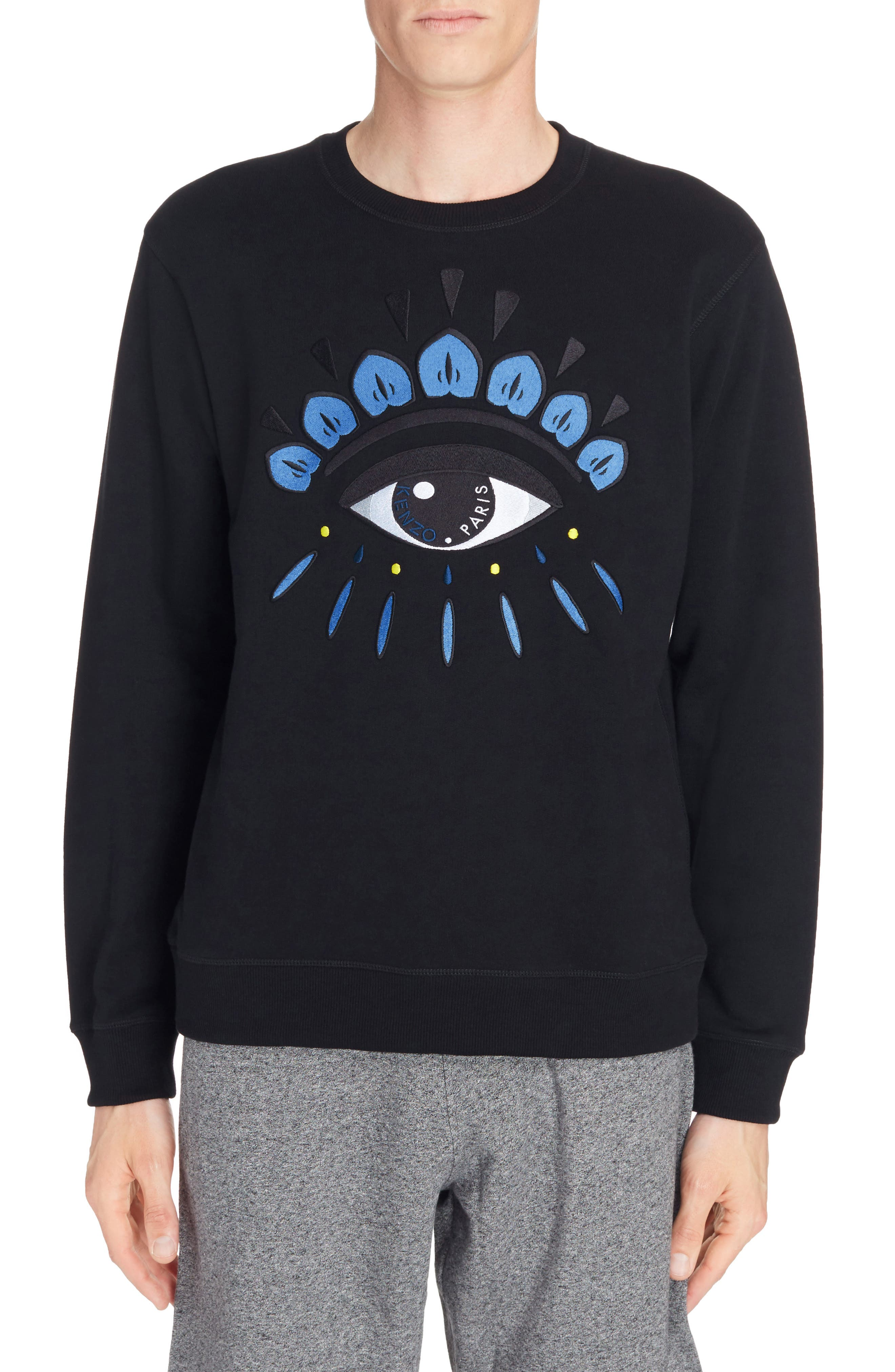 Embroidered Eye Sweatshirt,                             Main thumbnail 1, color,                             Black