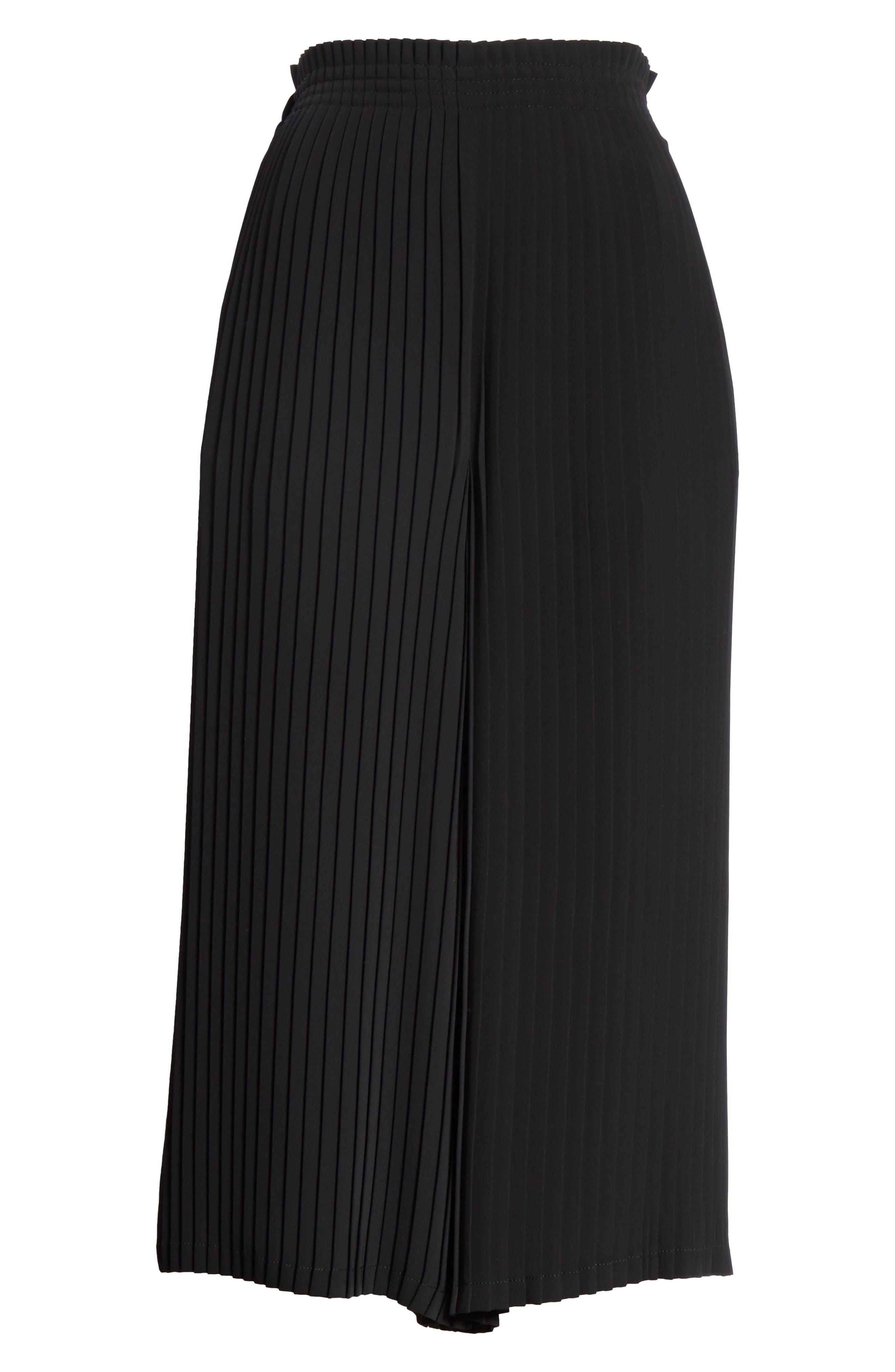 Pleated Crop Pants,                             Alternate thumbnail 6, color,                             Black