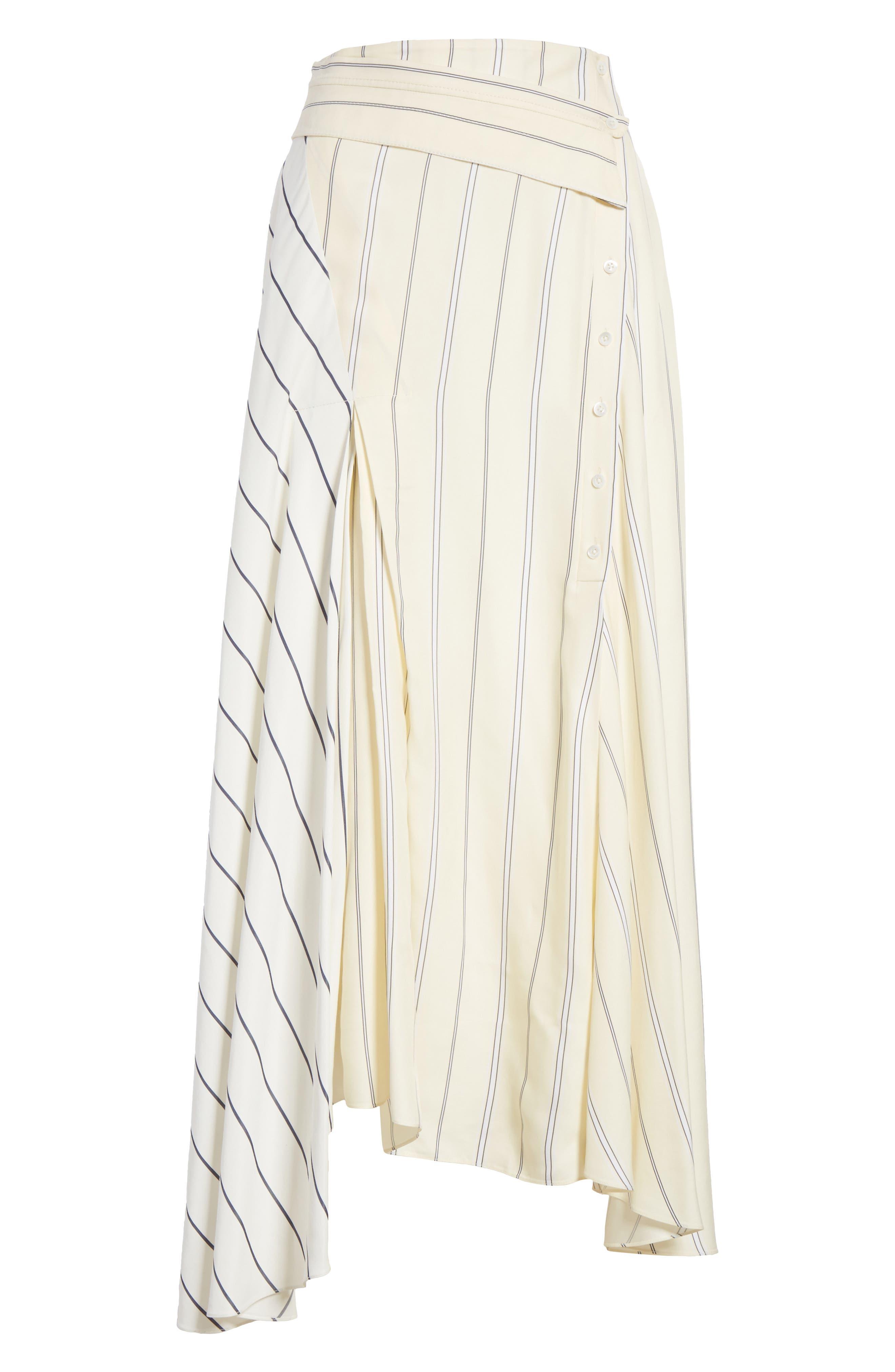 Mixed Stripe Asymmetrical Skirt,                             Alternate thumbnail 6, color,                             Ivory/ Black