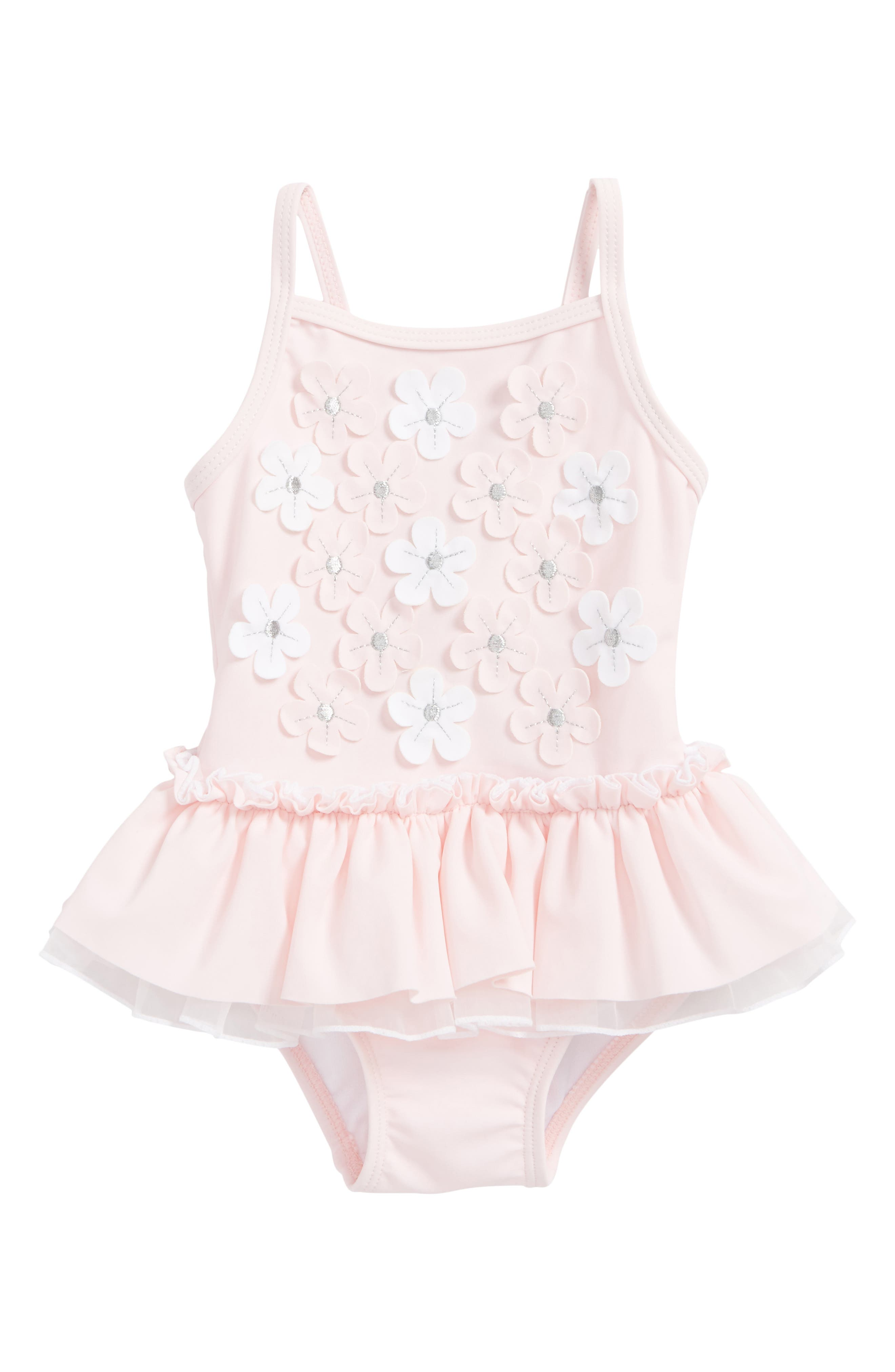 Floral Appliqué One-Piece Swimsuit,                         Main,                         color, Pink