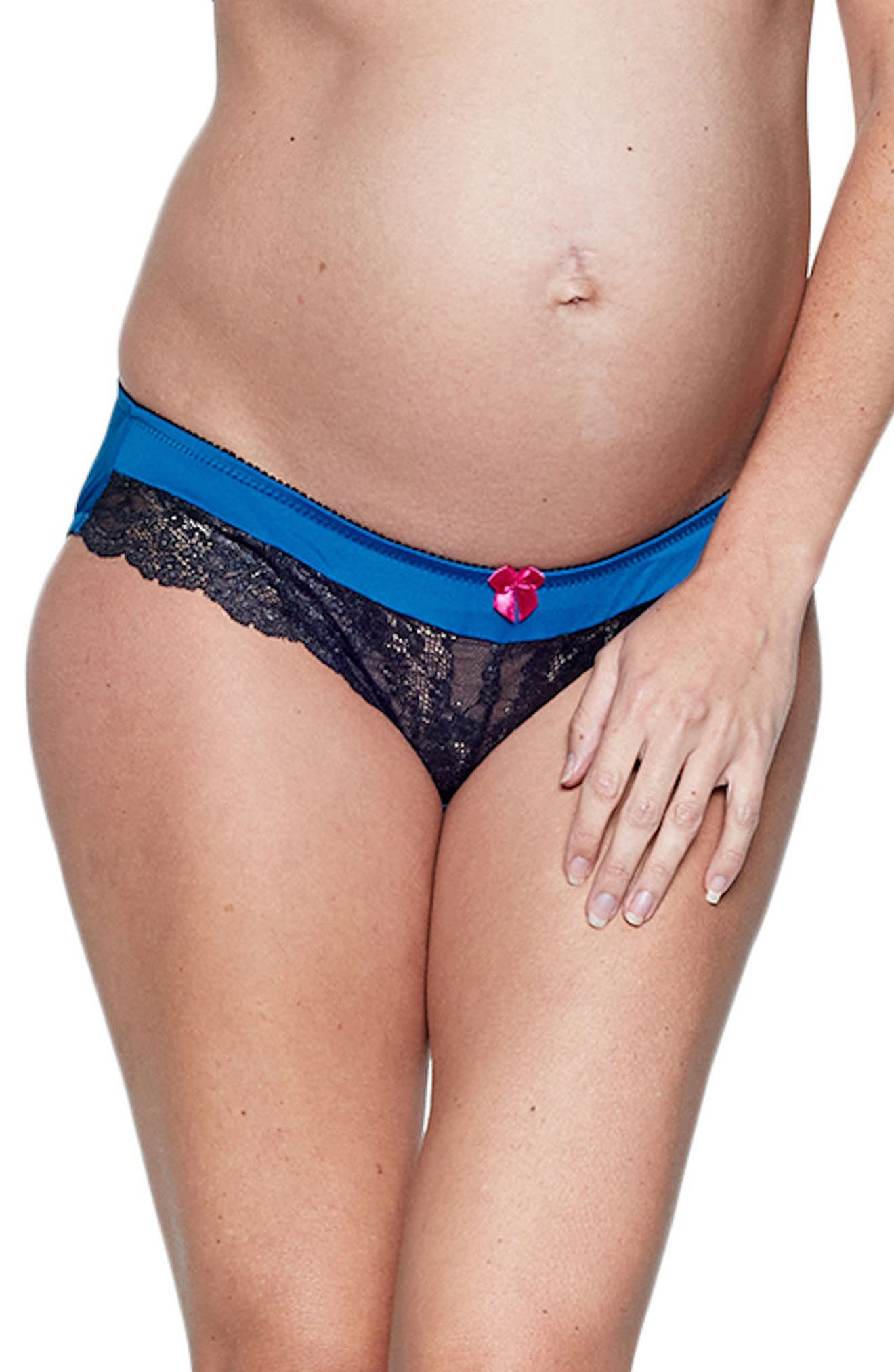 You! Lingerie Amelia Ruched Maternity Panties,                             Main thumbnail 1, color,                             Blue/ Black